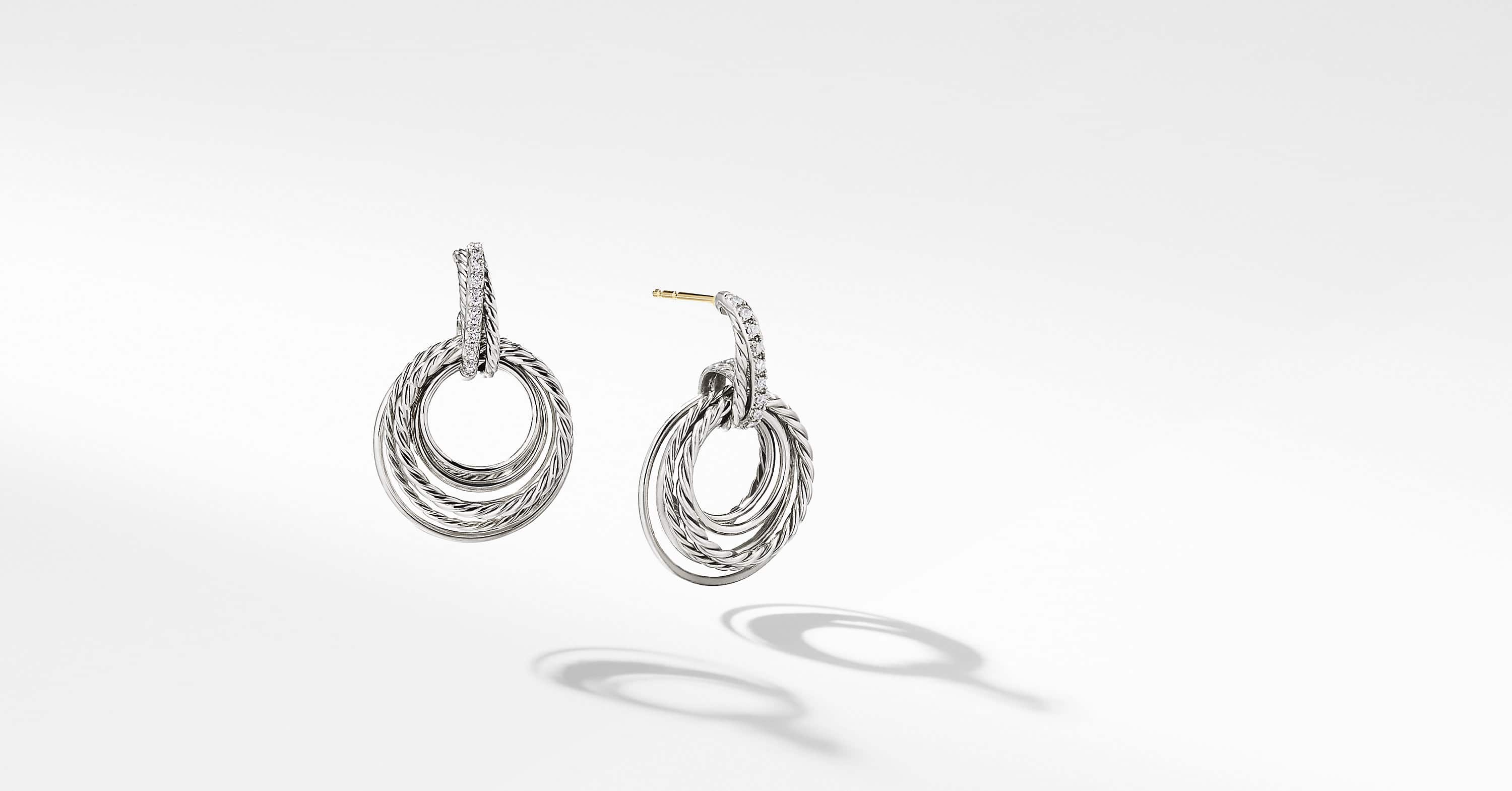 Crossover Drop Earrings with Diamonds, 30mm