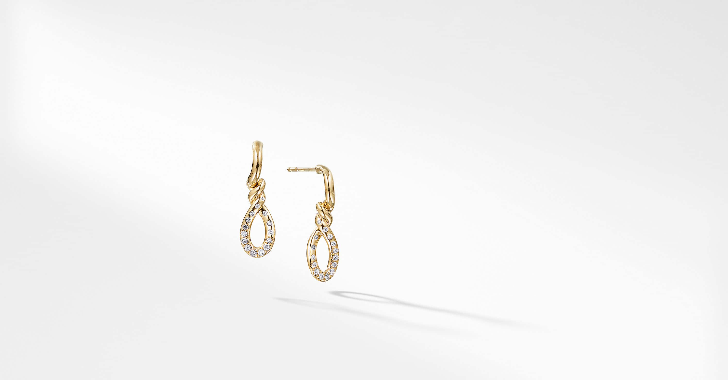 Continuance Small Drop Earrings with Diamonds in 18K Gold