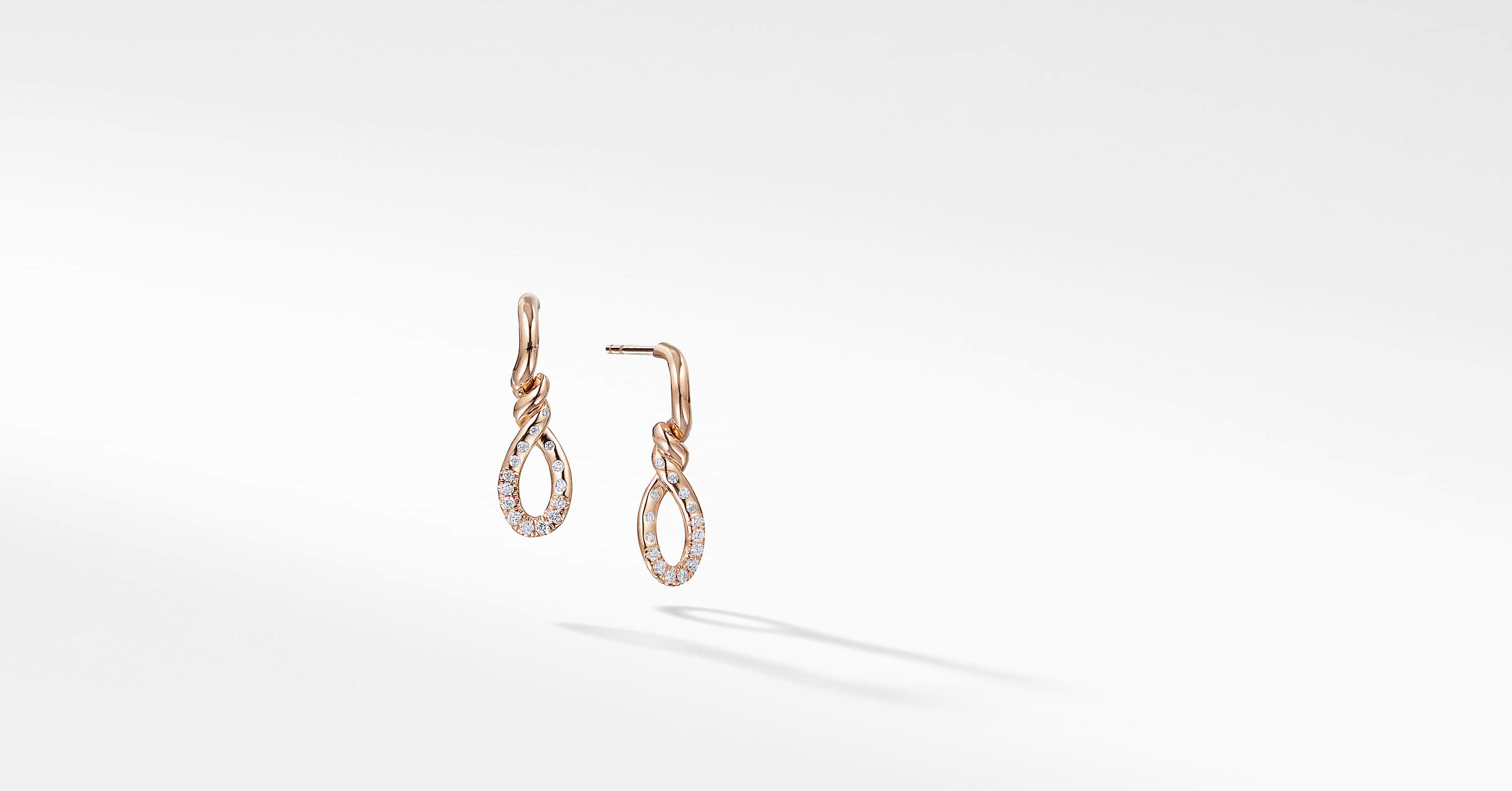 Continuance Small Drop Earrings with Diamonds in 18K Rose Gold