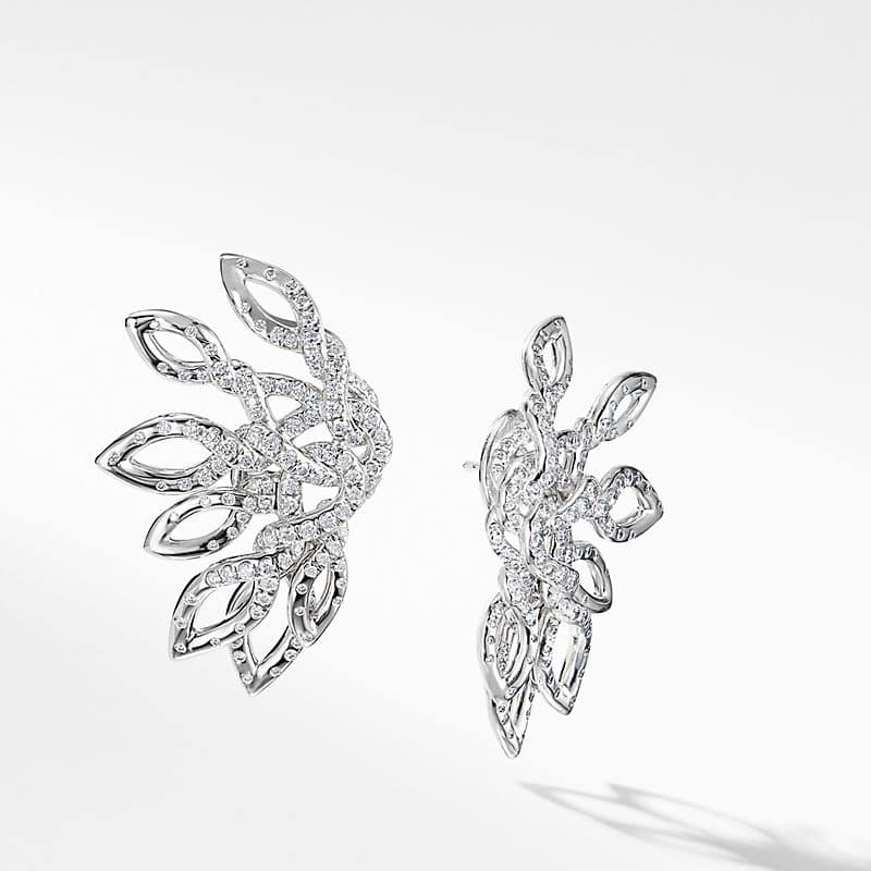 Continuance Climber Earrings with Diamonds in 18k White Gold