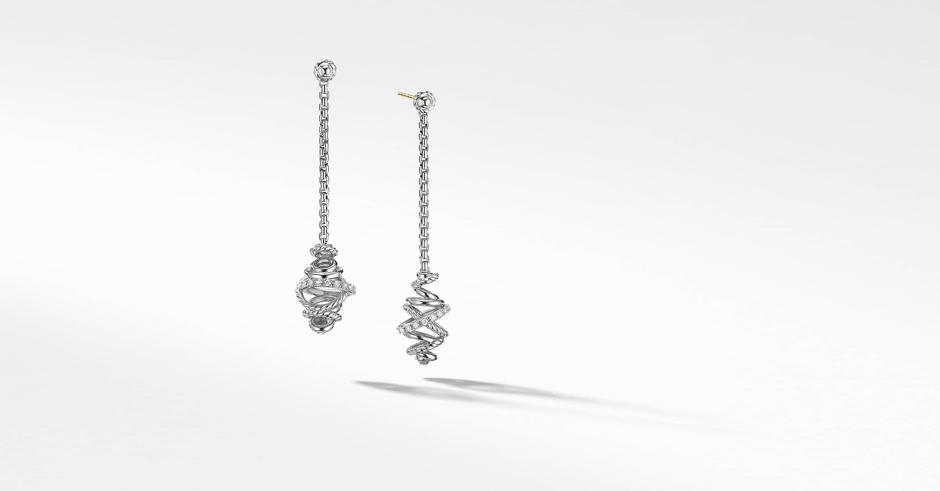 Crossover Chain Drop Earrings With Diamonds 54mm