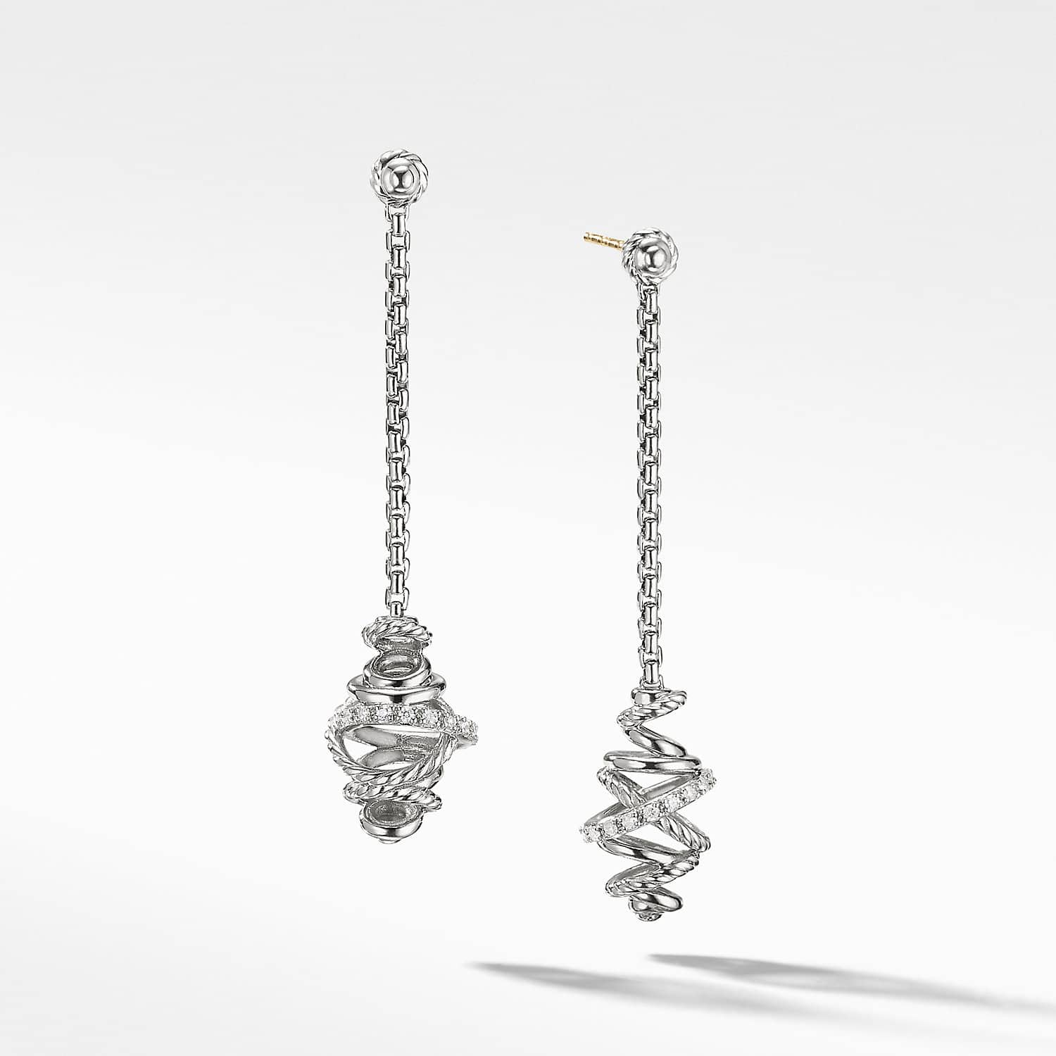 Crossover Chain Drop Earrings With Diamonds 54mm David Yurman