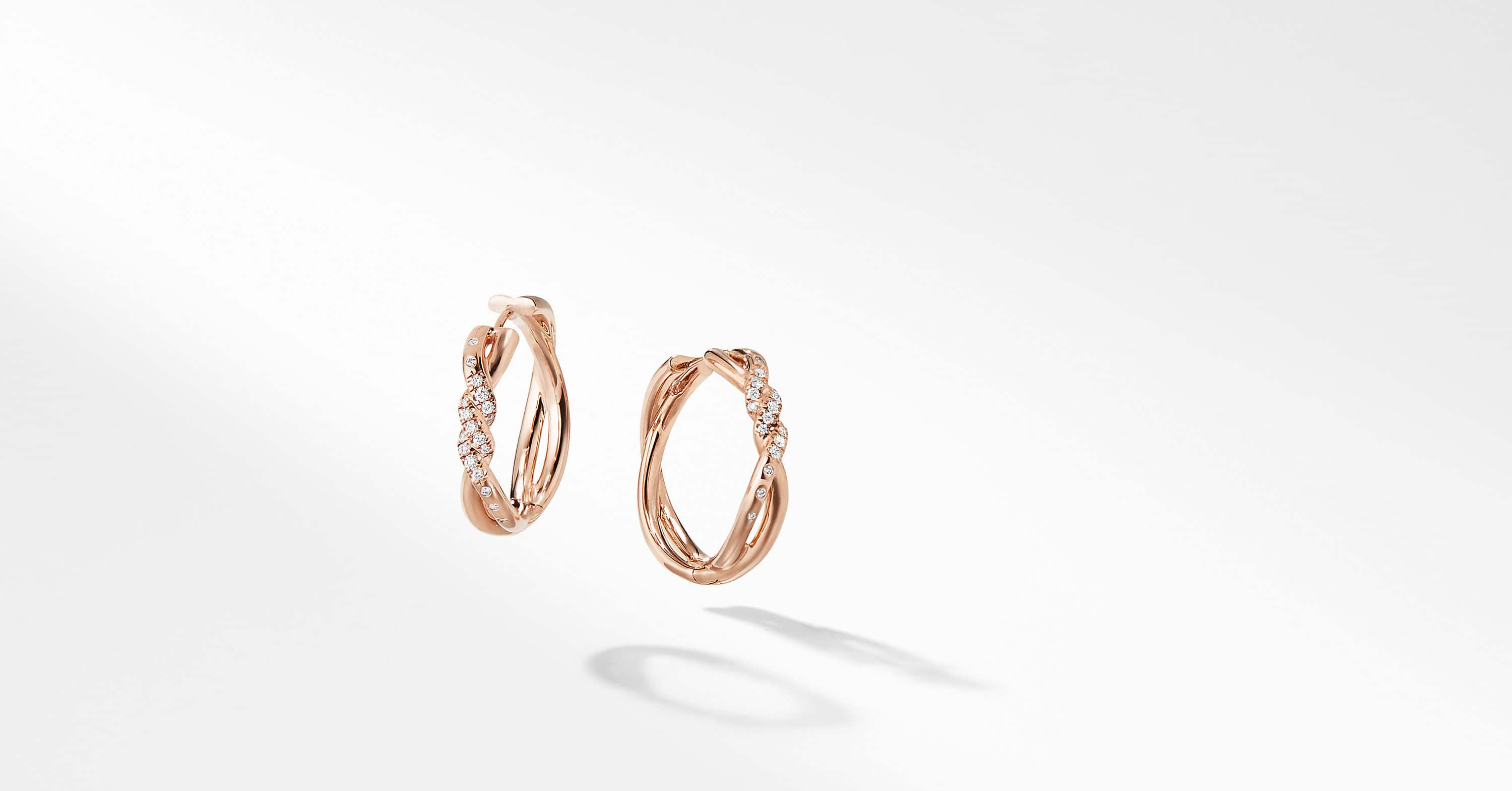 Continuance Hoop Earrings with Diamonds in 18K Rose Gold
