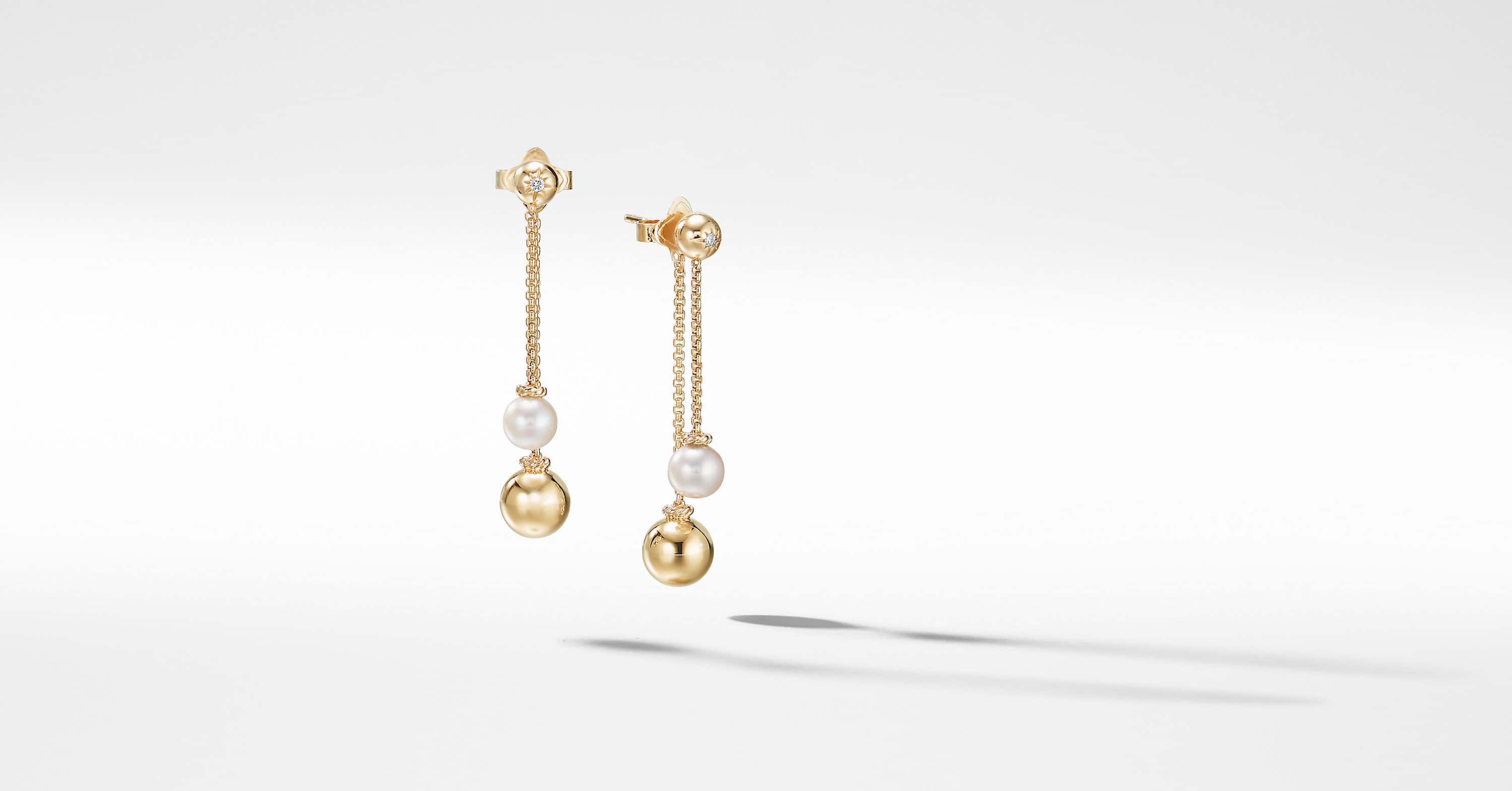 Solari Chain Drop Earrings with Diamonds in 18K Gold