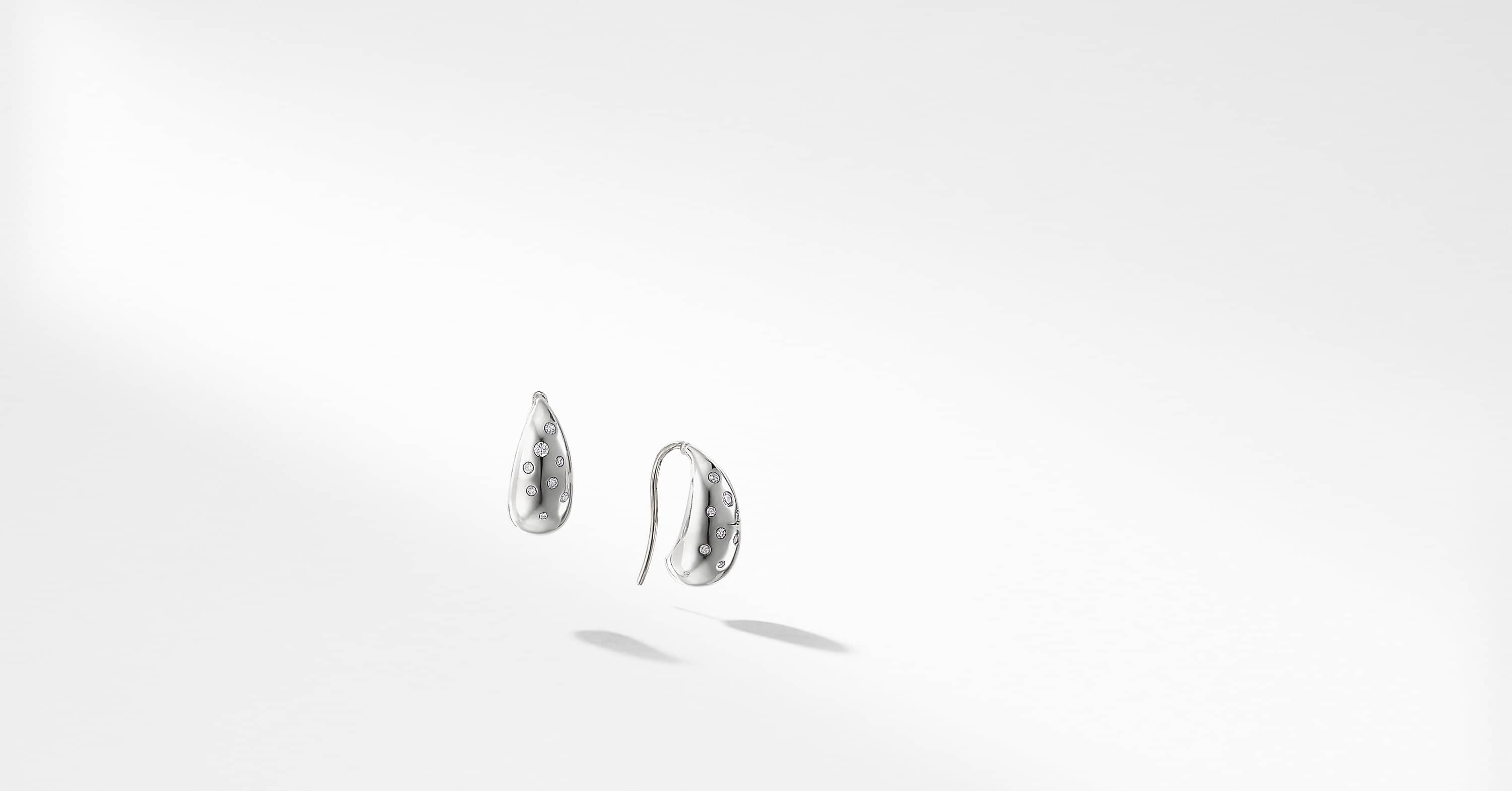 Pure Form Earrings with Diamonds, 15mm