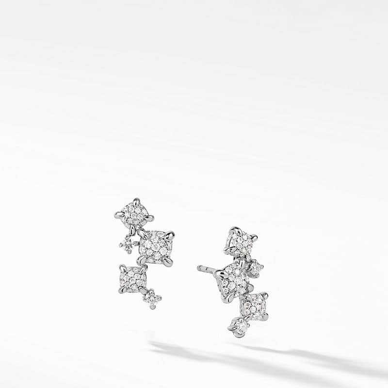 Precious Chatelaine Climber Earrings with Diamonds in 18K White Gold