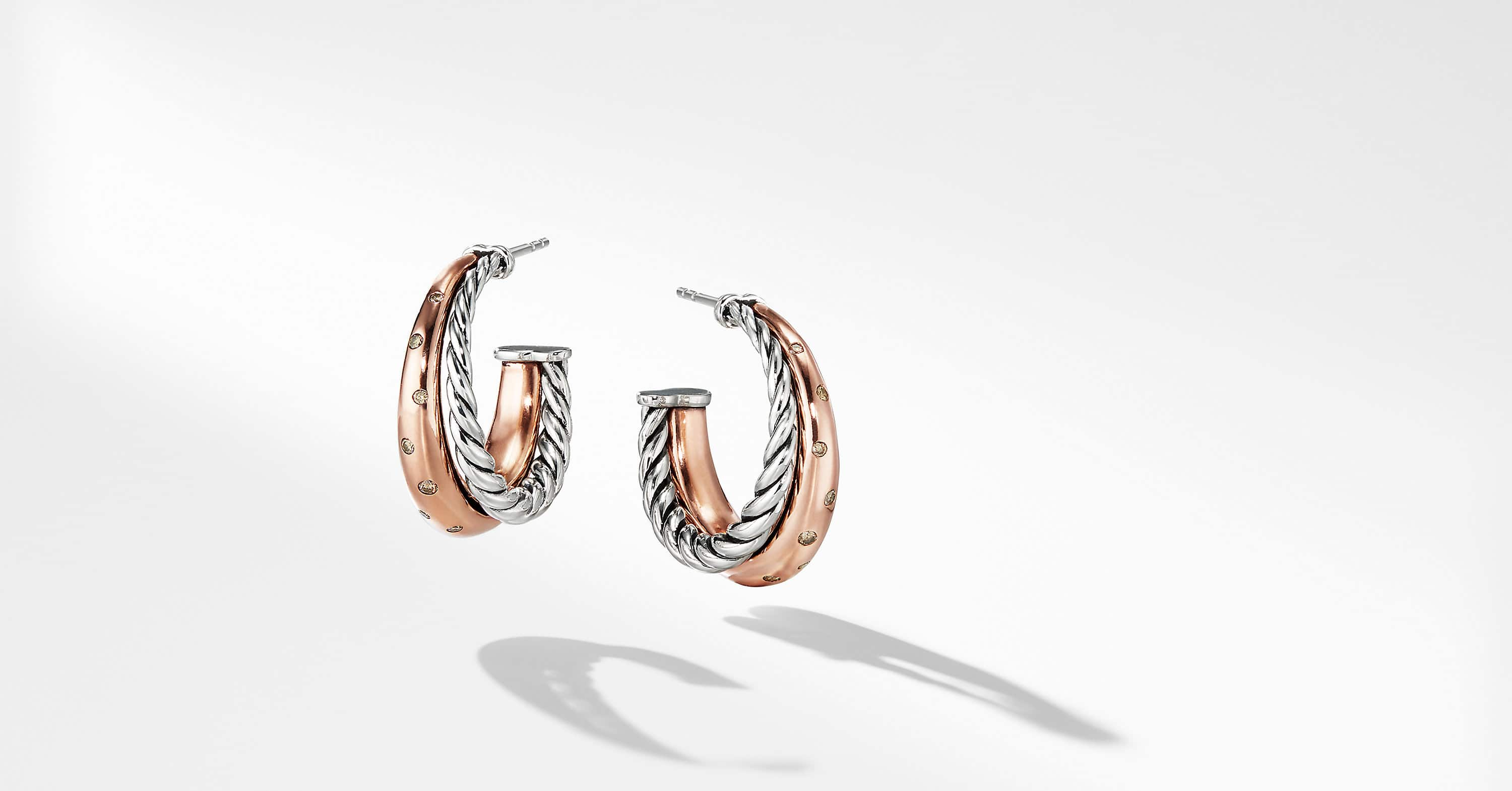 Pure Form Mixed Metal Hoop Earrings with Diamonds, 26.5mm