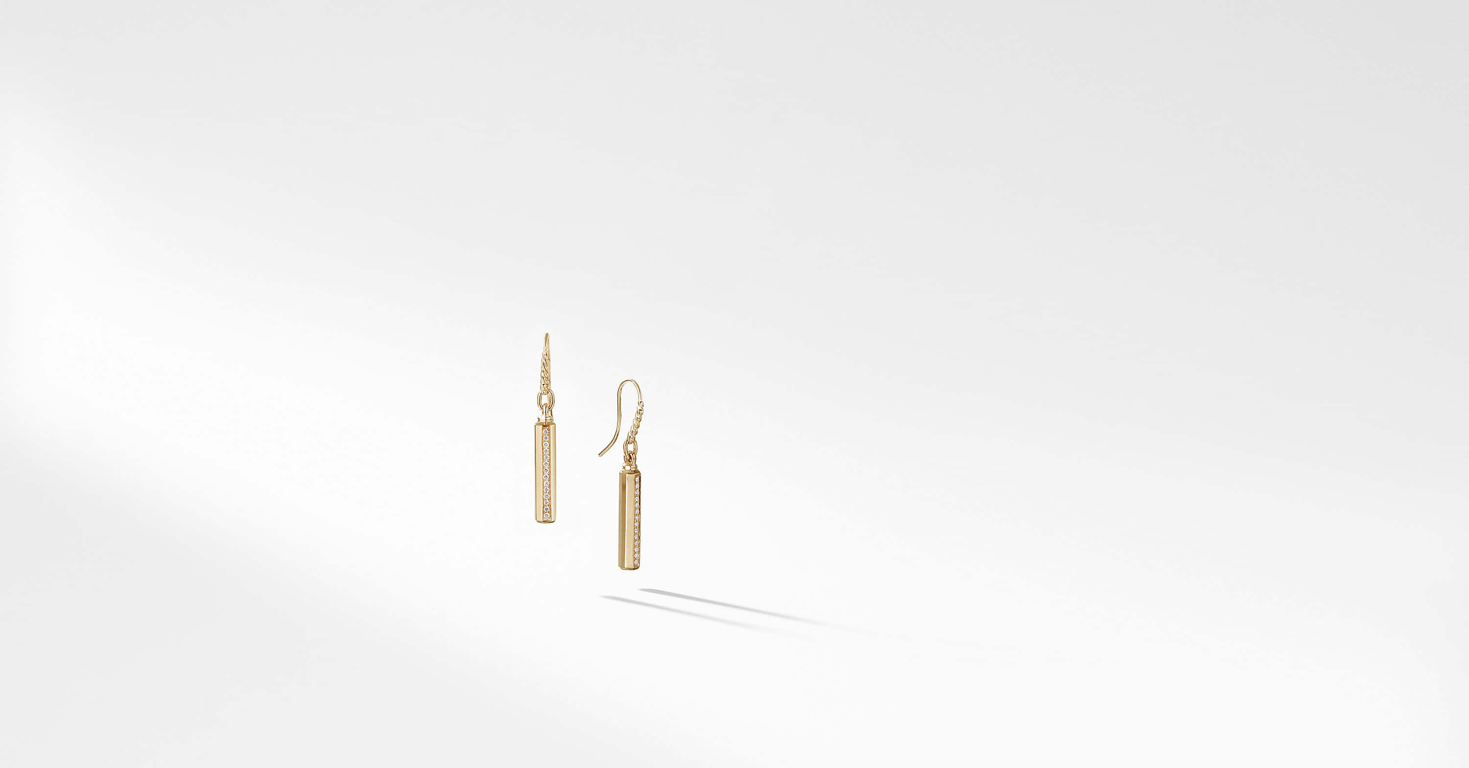 Barrels Drop Earrings with Diamonds in 18K Gold