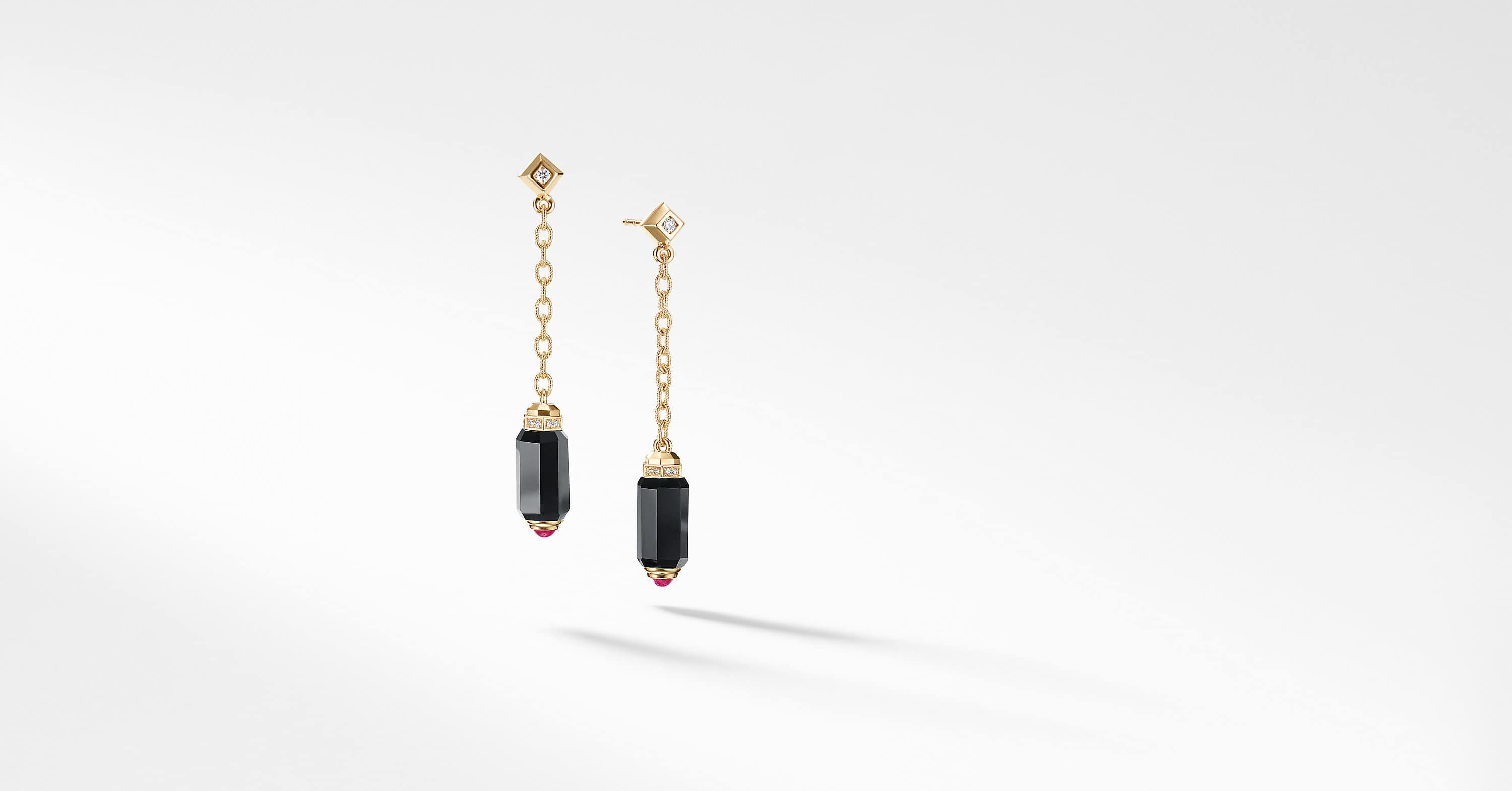 Barrels Chain Drop Earrings with Diamonds in 18K Gold