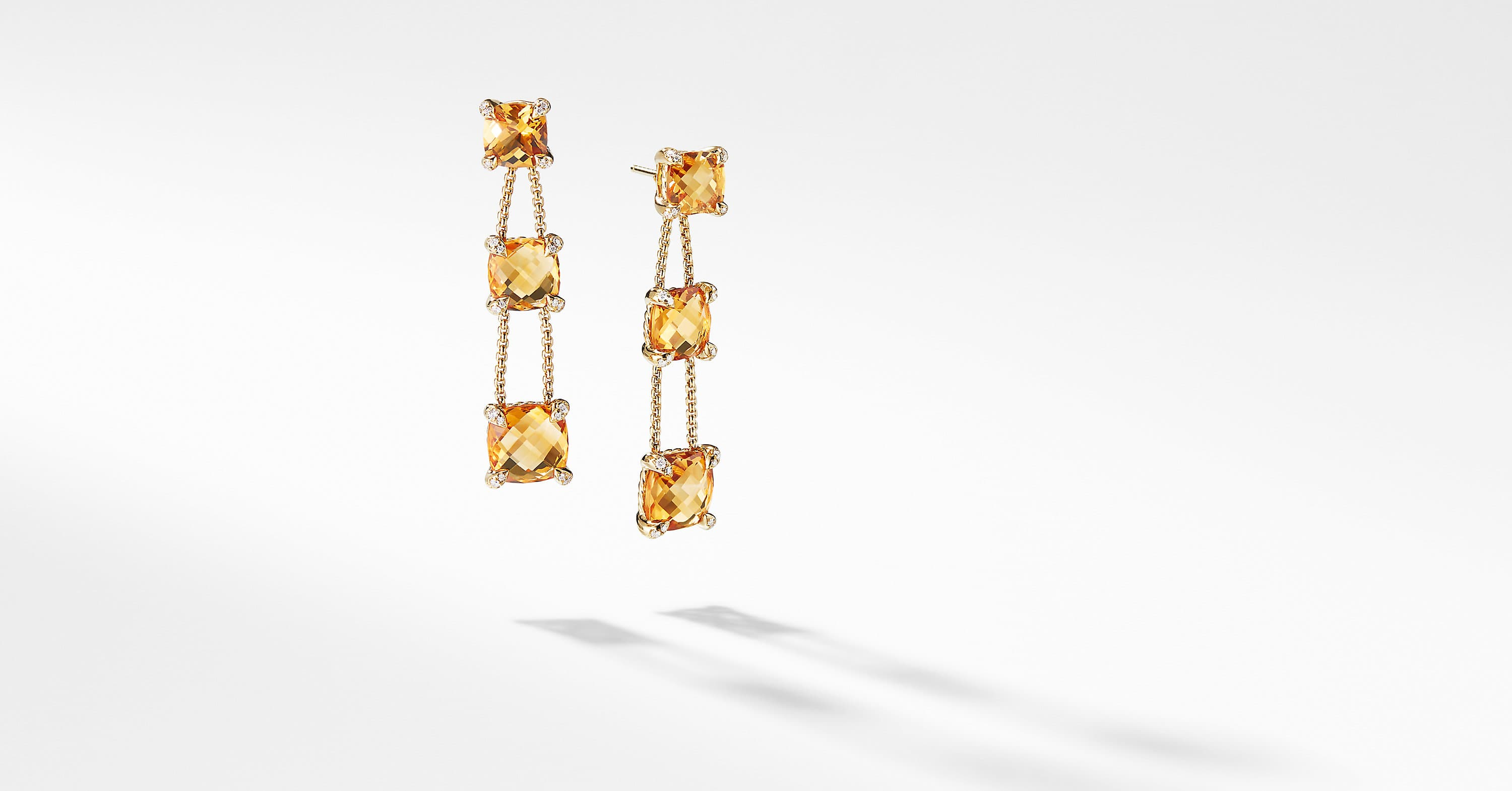 Chatelaine Linear Chain Earrings with Diamonds in 18K Gold