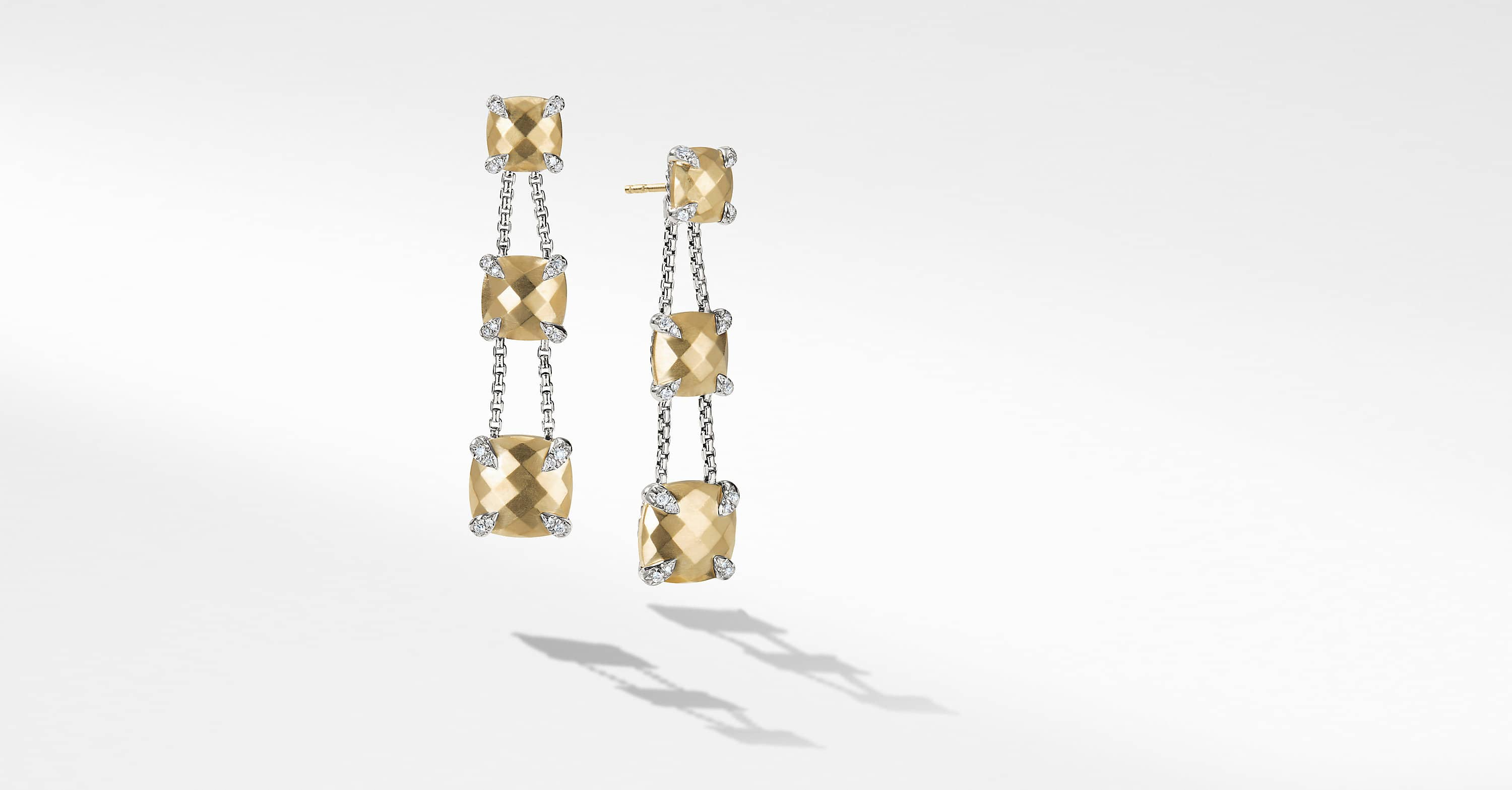 Chatelaine Linear Chain Earrings with 18K Gold and Diamonds