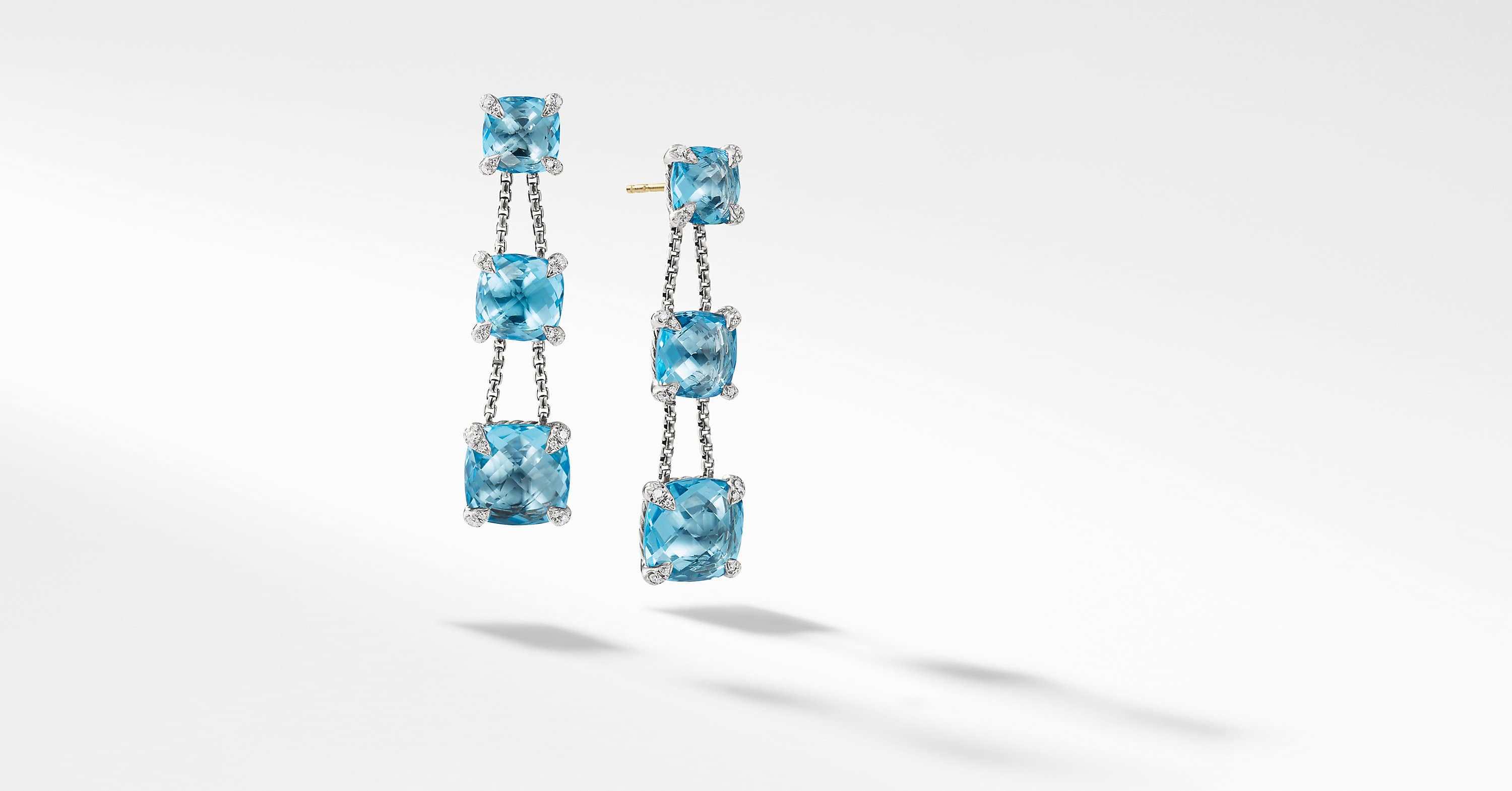 Chatelaine Linear Chain Earrings with Diamonds