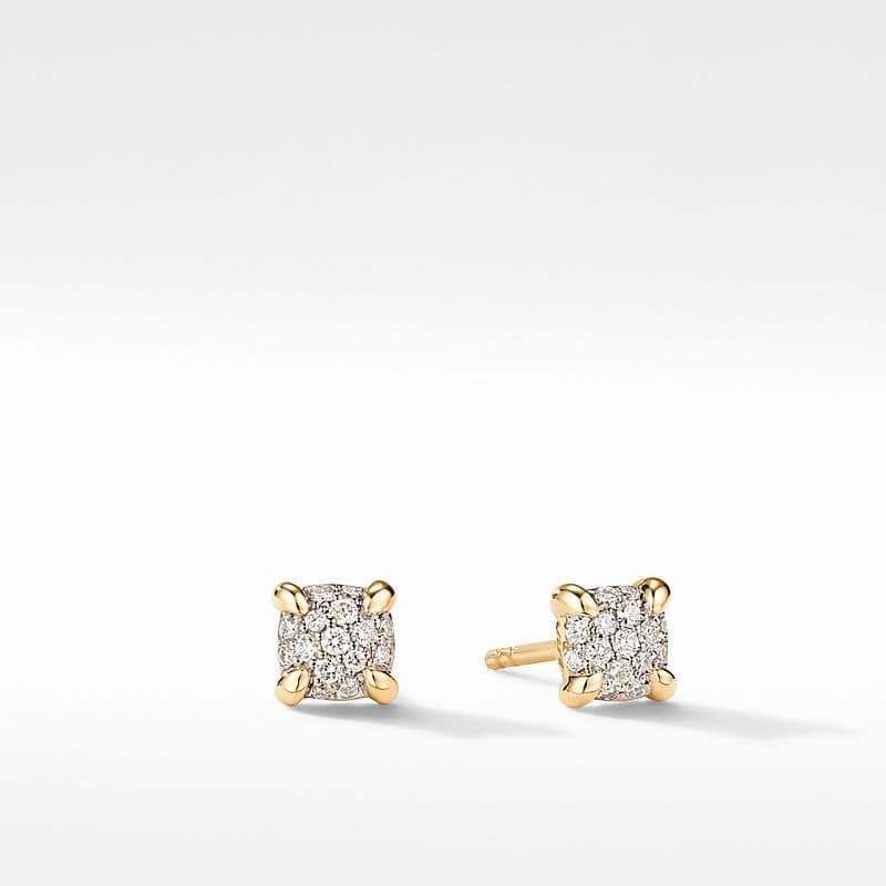 Petite Chatelaine Stud Earrings in 18K Yellow Gold with Diamonds