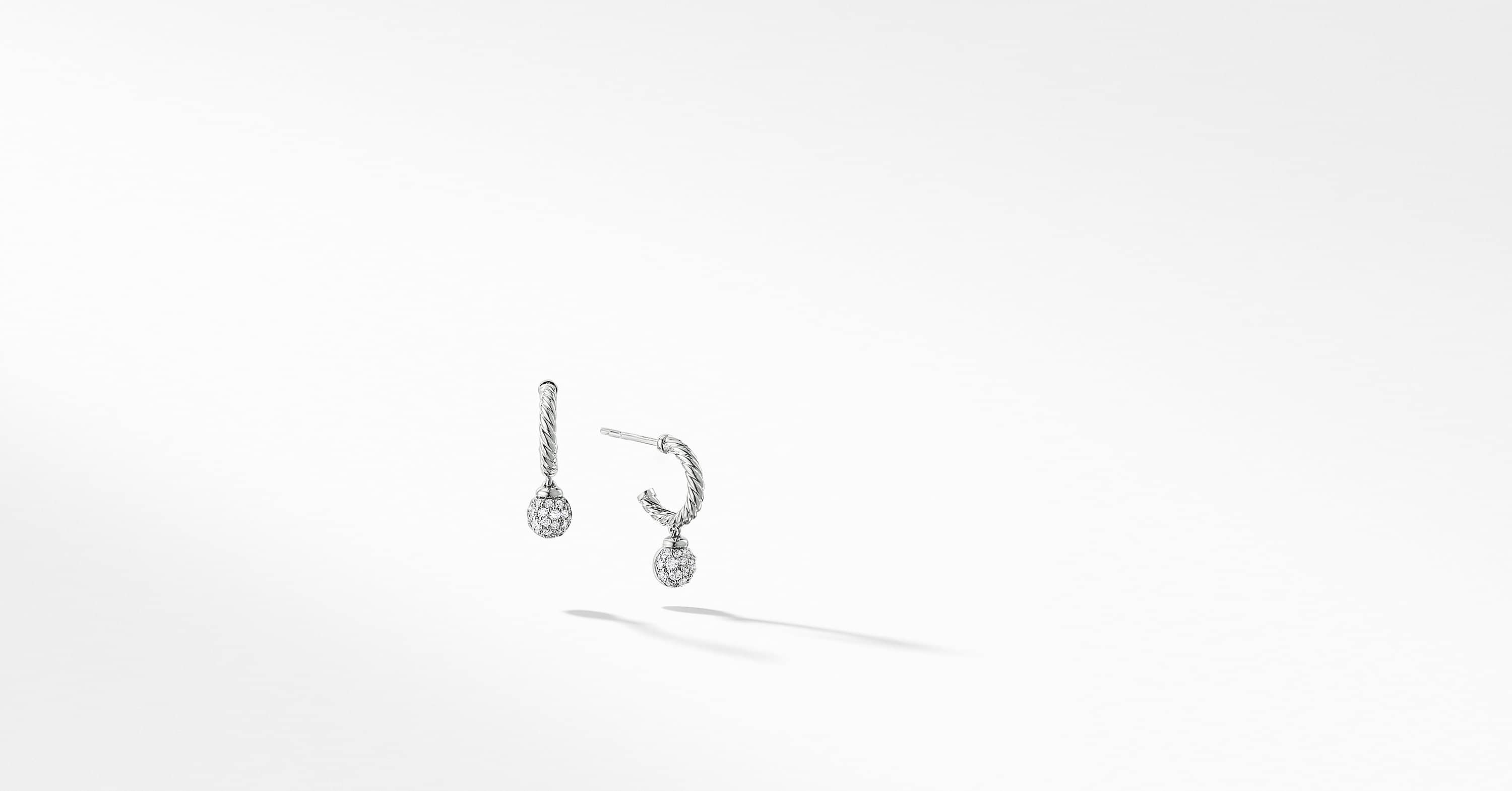 Petite Solari Pave Hoop Earrings with Diamonds in 18K White Gold