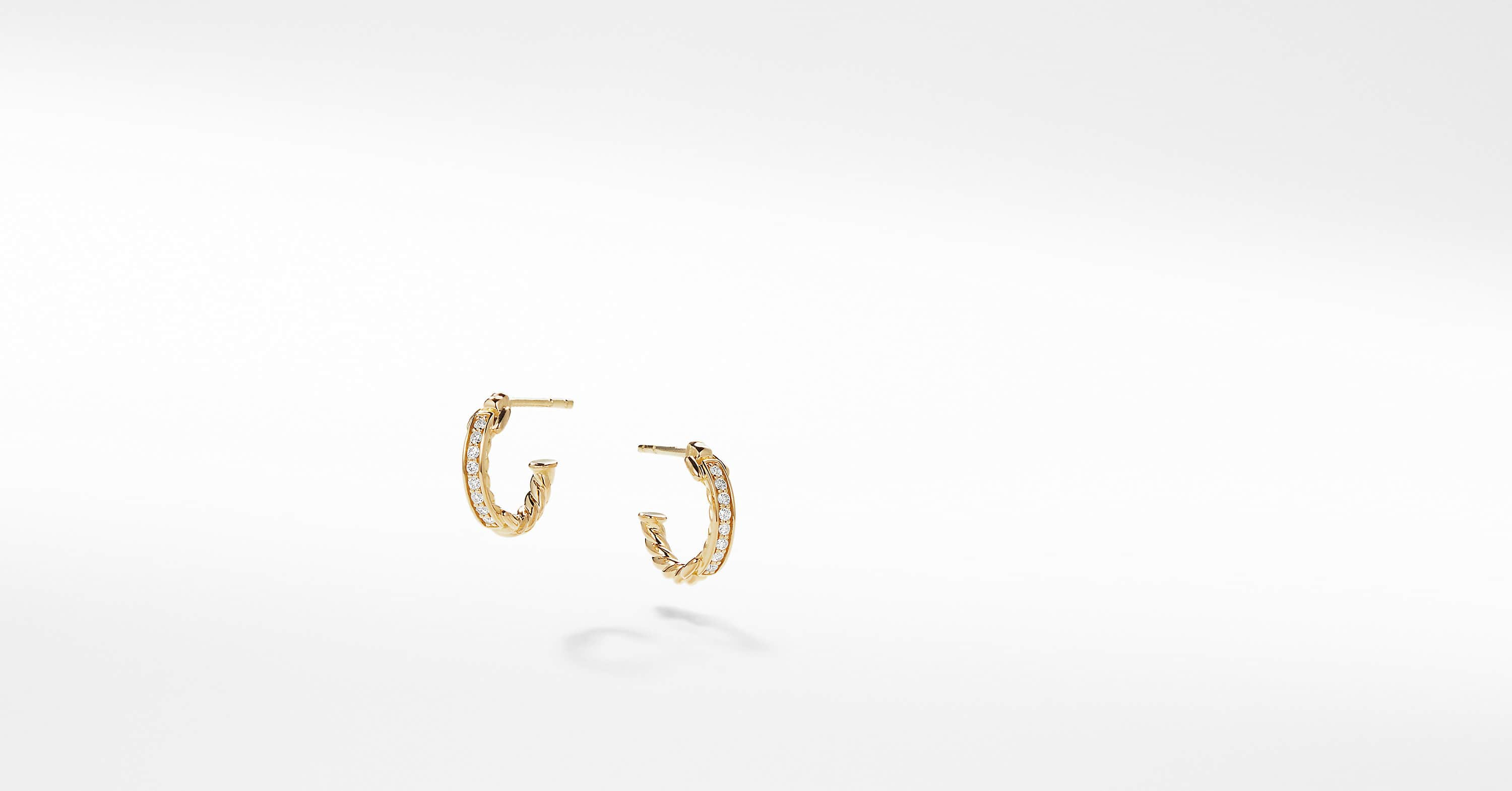 Petite Pavé Hoop Earrings with Diamonds in 18K Gold