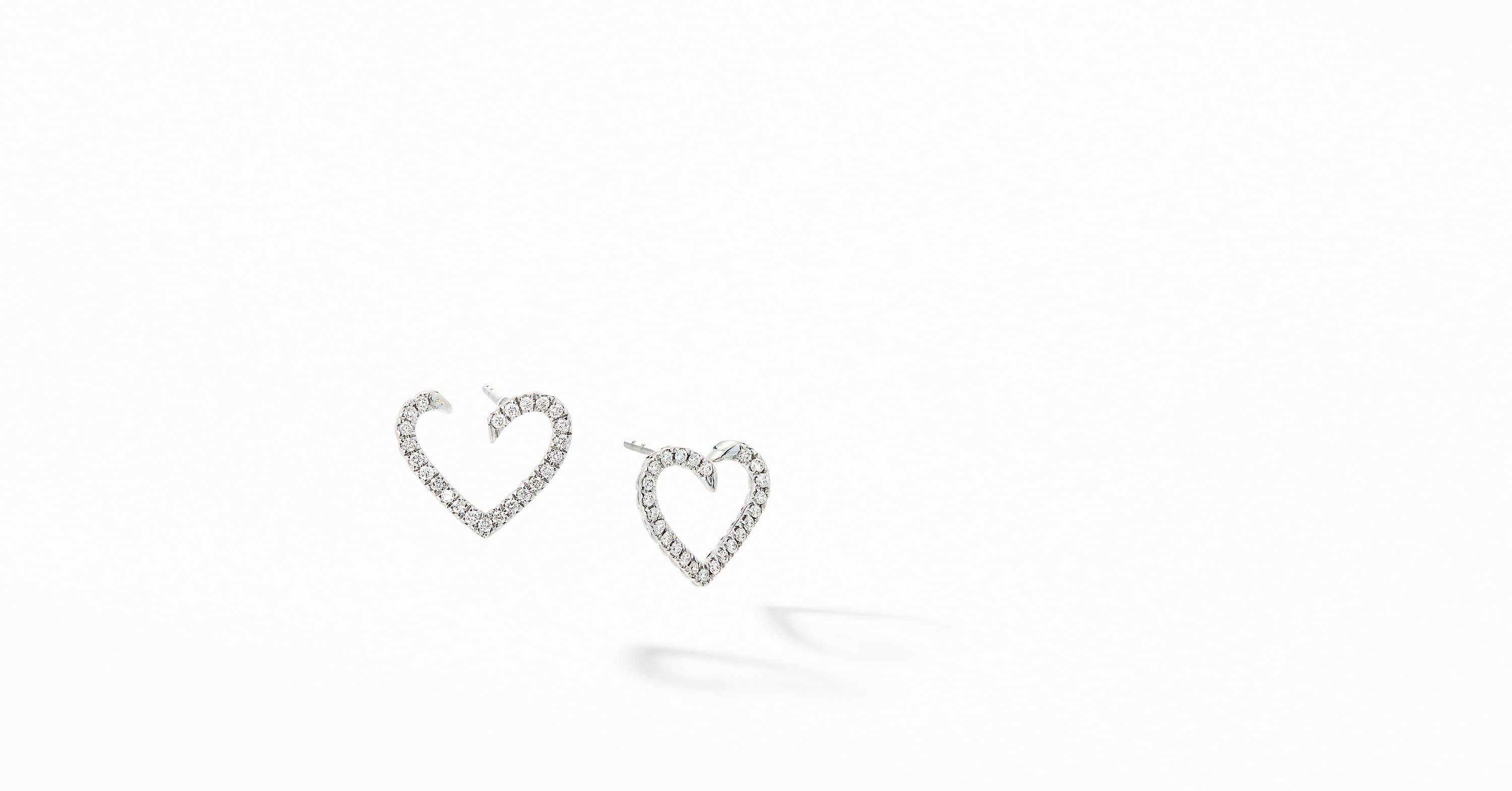 Cable Collectibles Heart Earrings in 18K White Gold with Diamonds