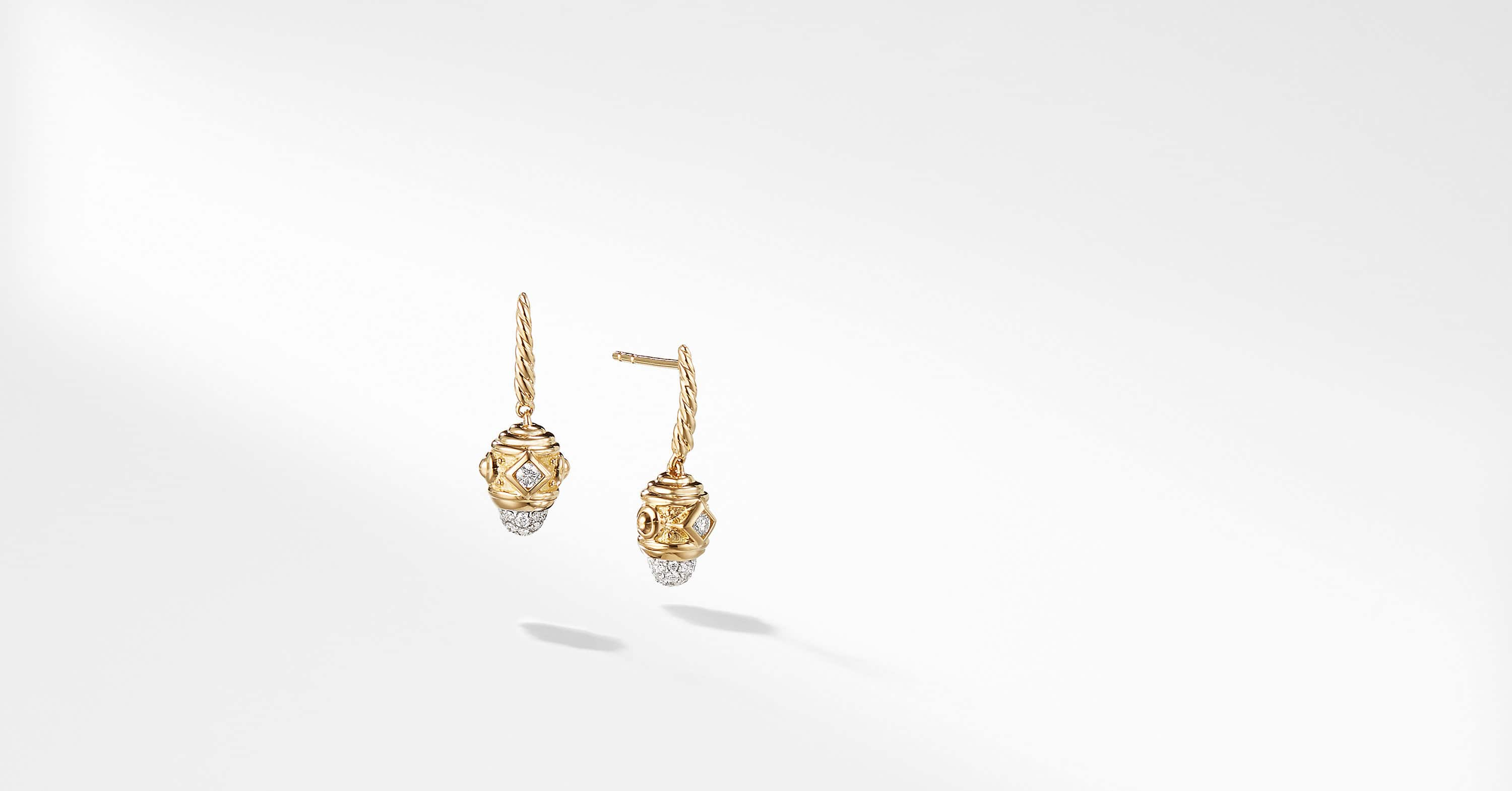 Renaissance Drop Earrings with Diamonds in 18K Gold