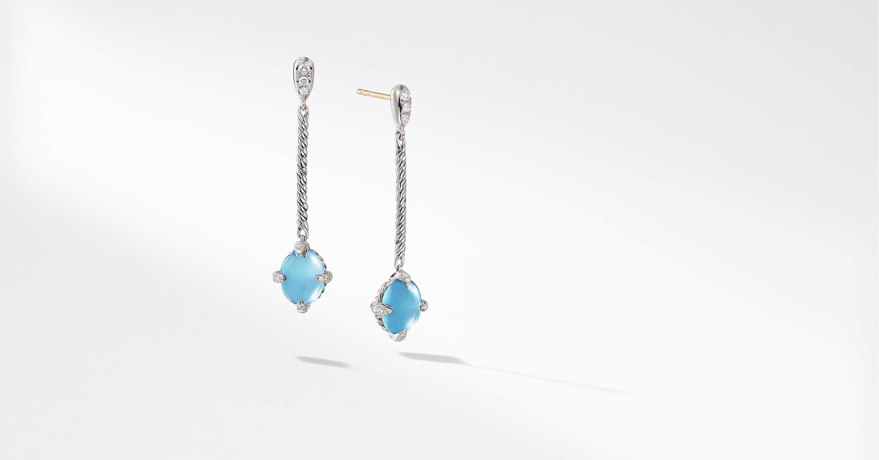 Chatelaine Cable Stick Drop Earrings with Diamonds