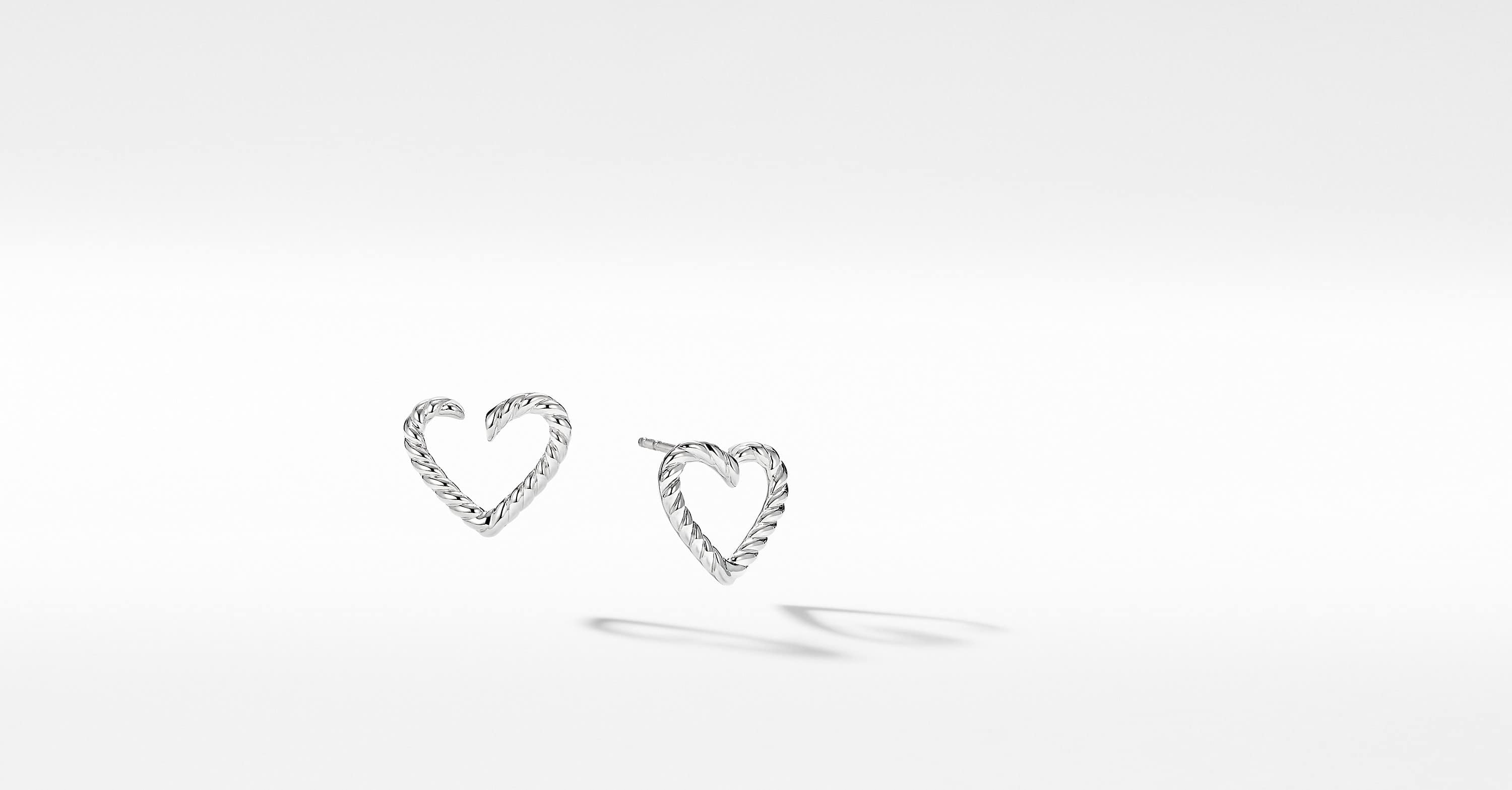 Cable Collectibles Heart Earrings in 18K White Gold