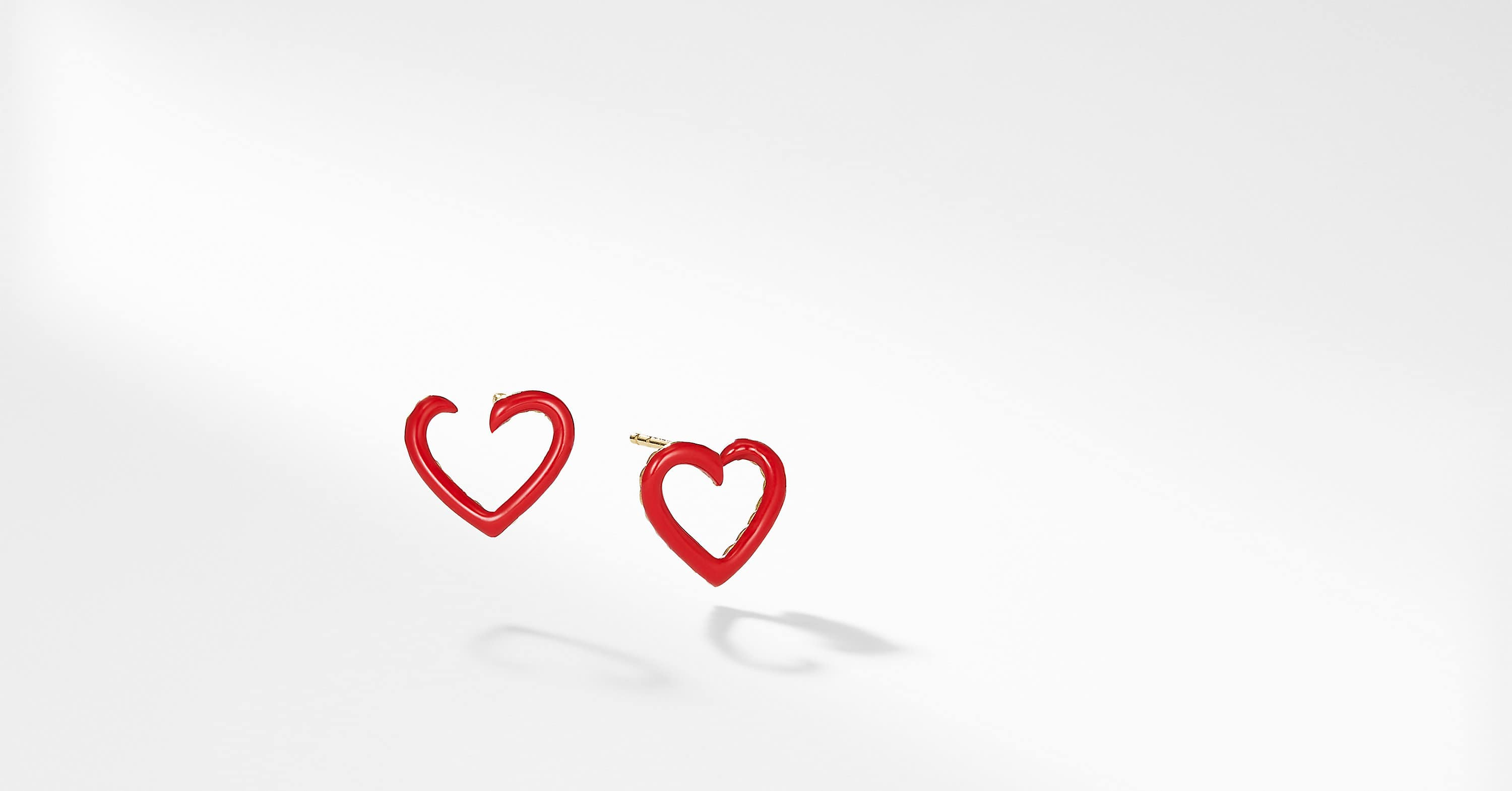 Cable Heart Earrings in Red Enamel and 18K Gold