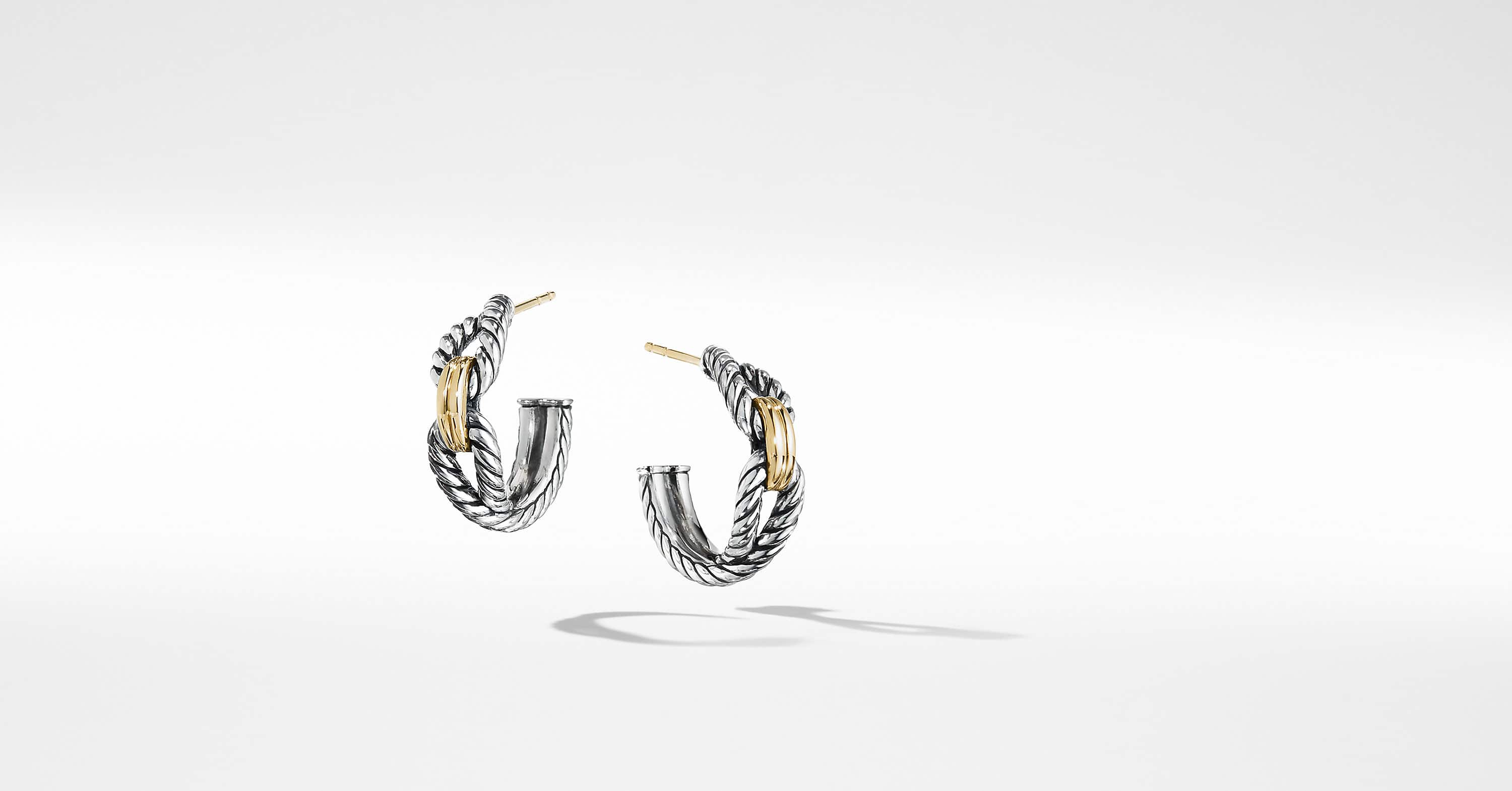 Cable Loop Hoop Earrings with 18K Gold, 22mm