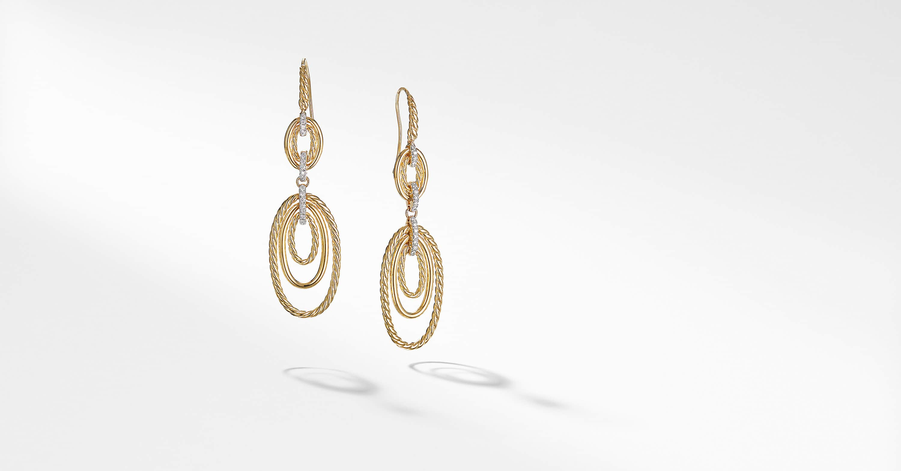 Continuance Drop Earrings in 18K Yellow Gold with Diamonds