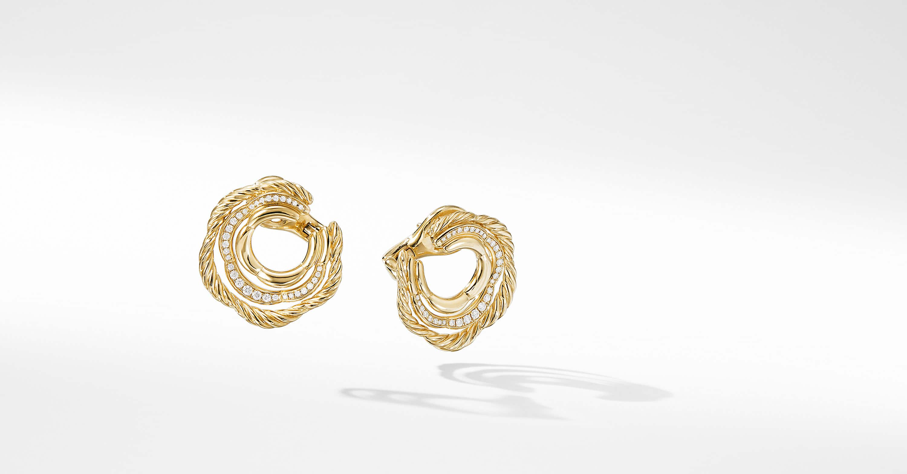 Tides Hoop Earring in 18K Yellow Gold with Diamonds