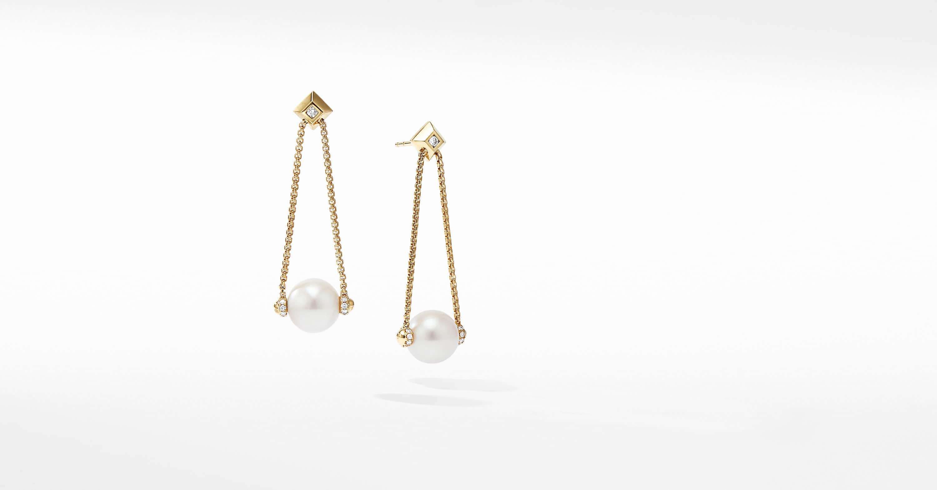 Solari Pearl Drop Earring in 18K Yellow Gold with Diamonds