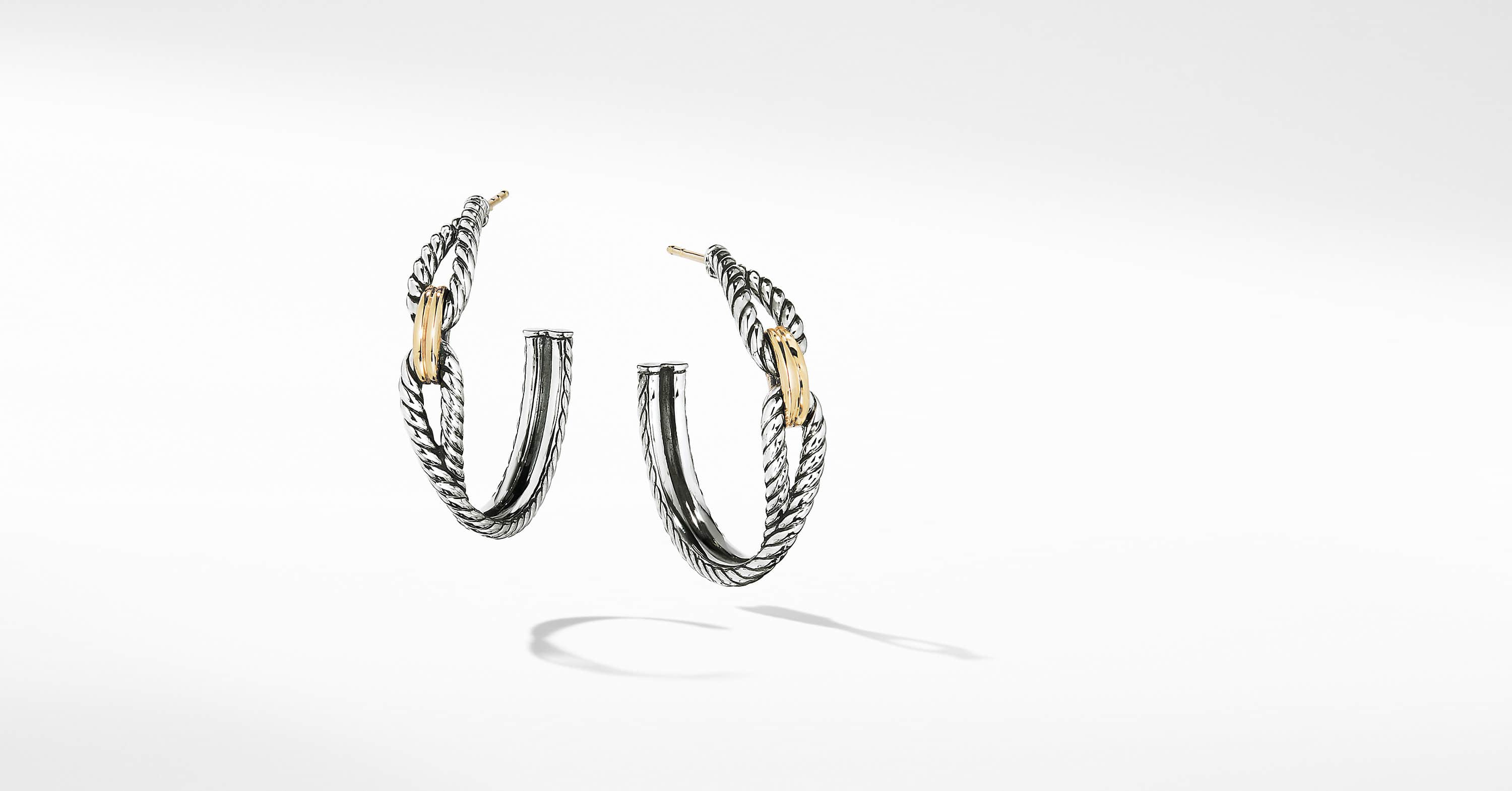 a5a2b214a Cable Loop Hoop Earrings with 18K Gold, 34.5mm | David Yurman