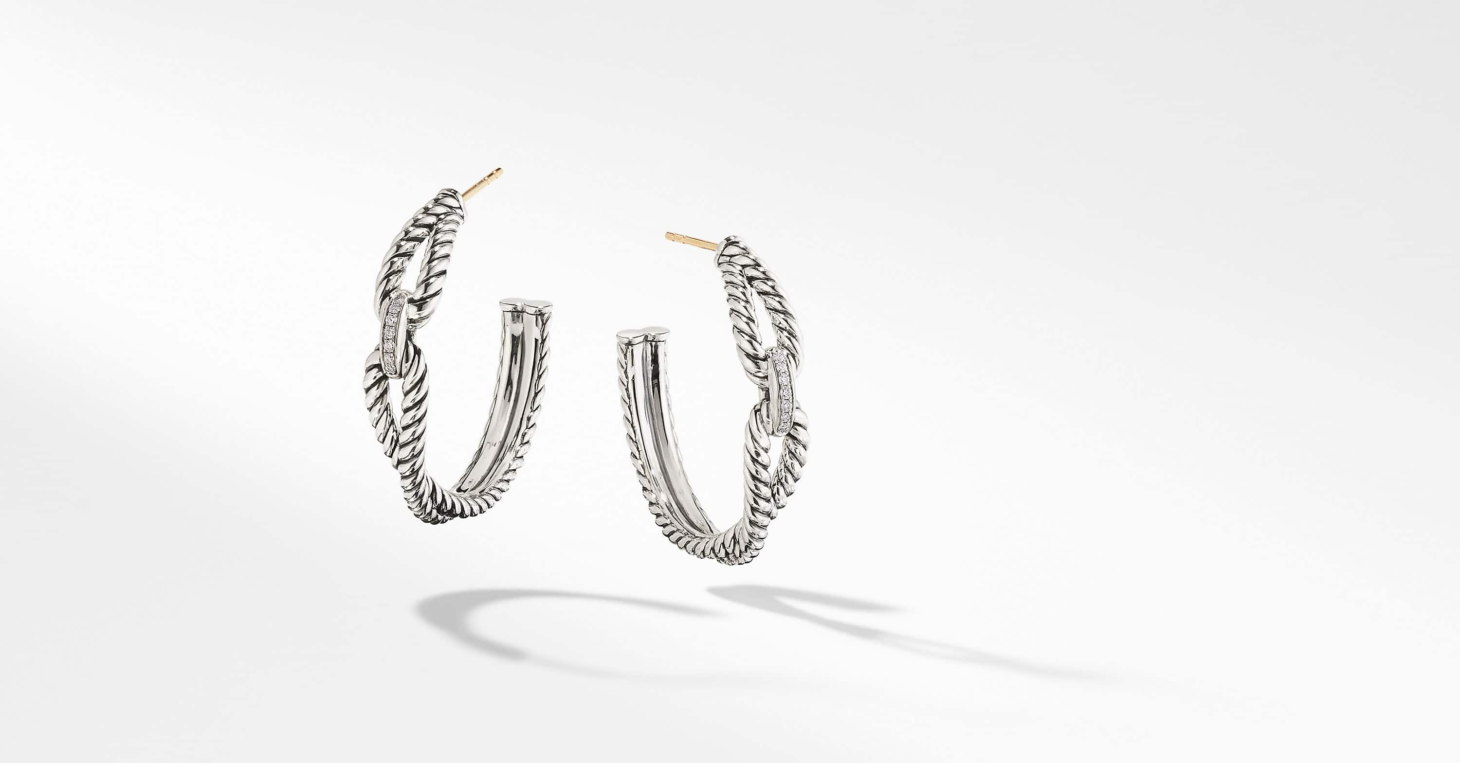 Cable Loop Hoop Earrings with Diamonds, 34.5mm