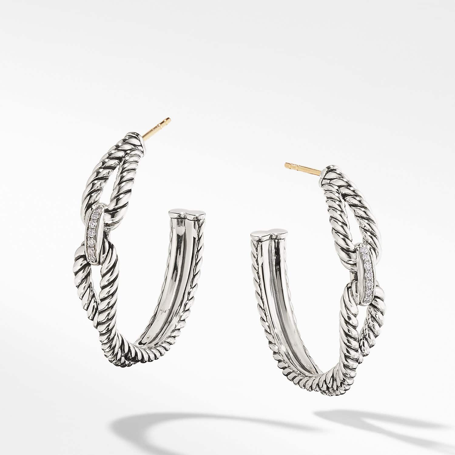 dfdf16fe5 Cable Loop Hoop Earrings with Diamonds Product Image