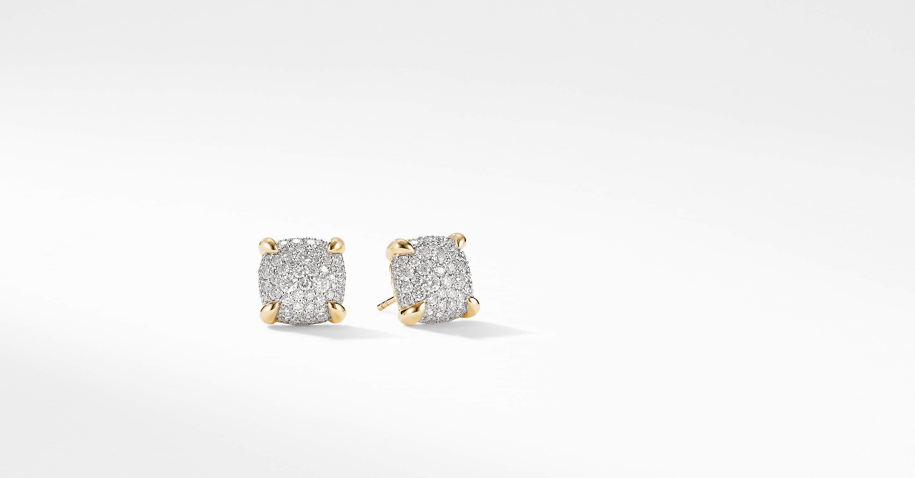 Chatelaine Stud Earrings in 18K Yellow Gold with Full Pavé, 11mm