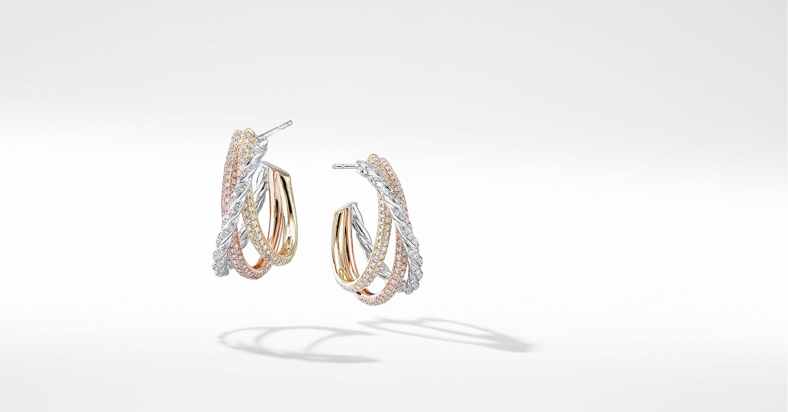 Pavéflex Shrimp Earrings  in 18K Gold with Diamonds