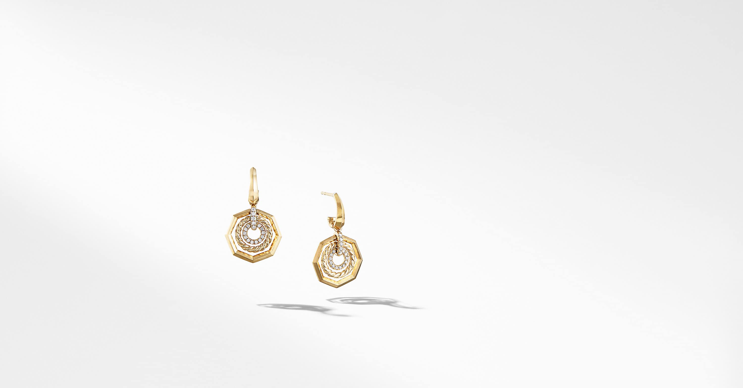 Stax Drop Earring in 18K Yellow Gold with Diamonds