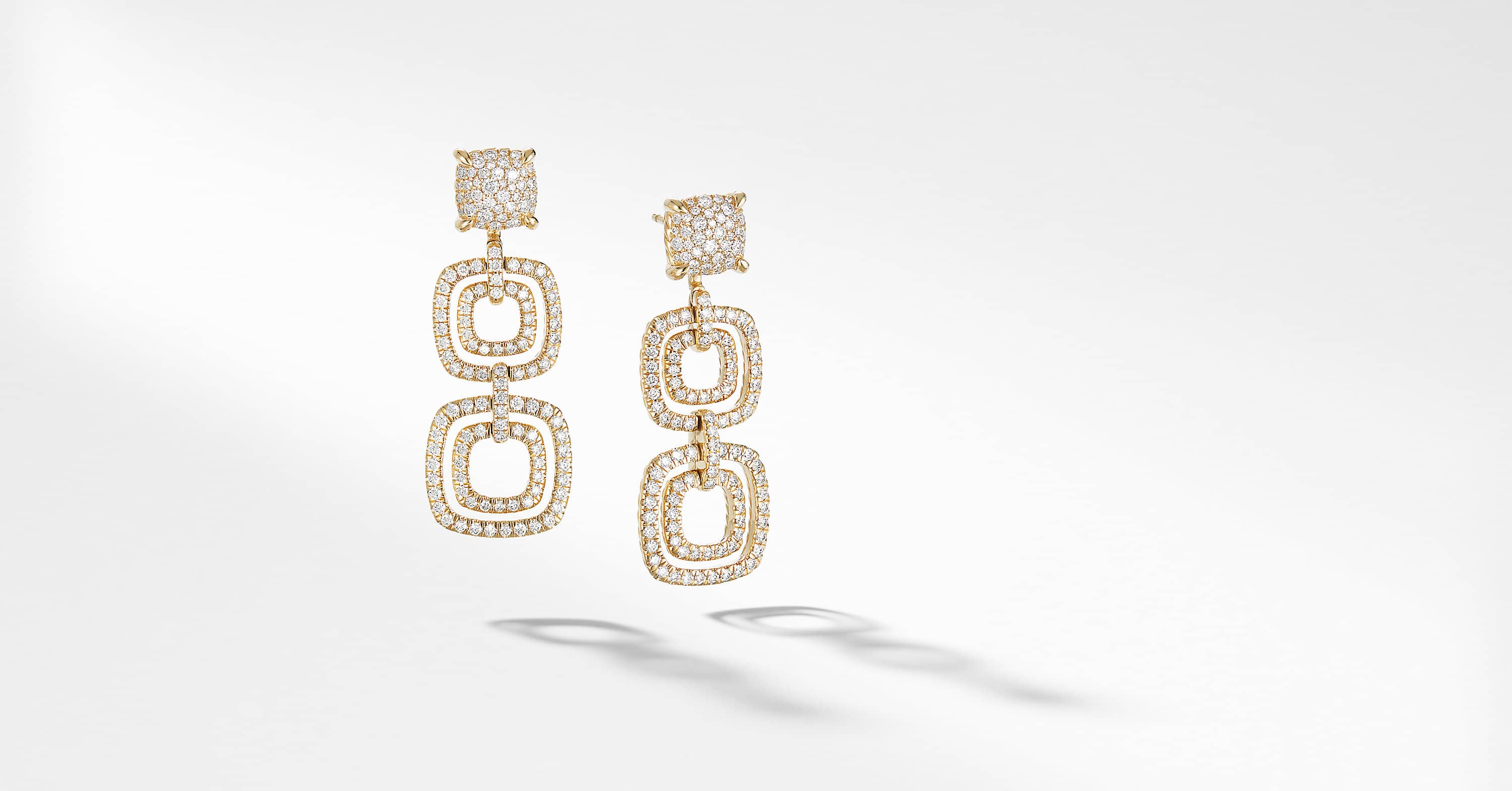 Chatelaine Full Pave Triple Drop Earrings in 18K Yellow Gold