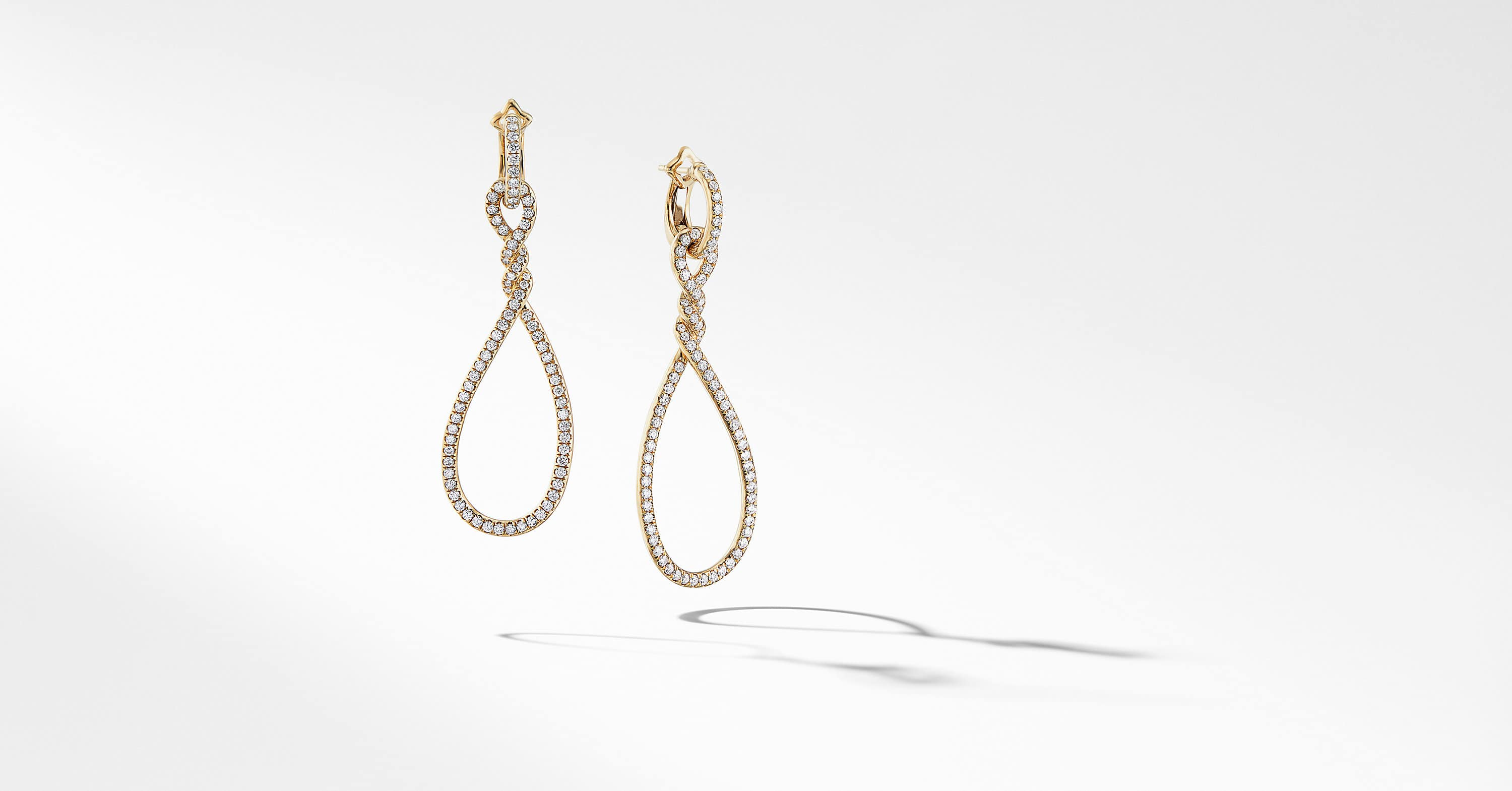 Continuance Full Pavé Large Drop Earrings in 18K Yellow Gold