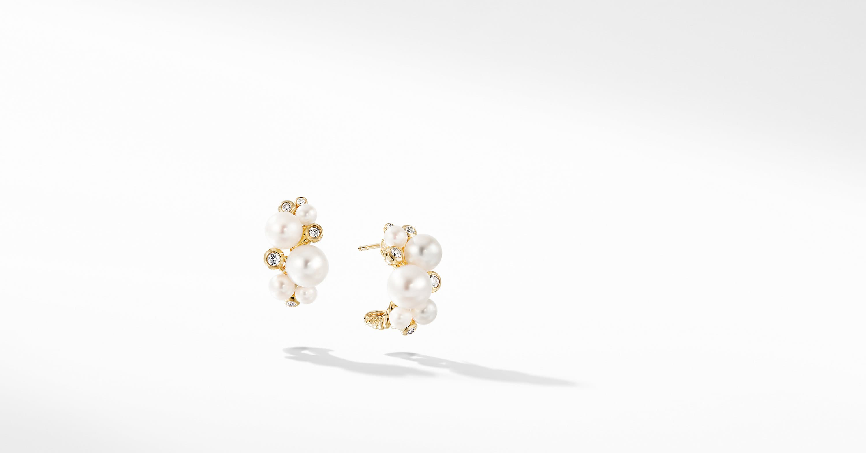 Pearl Cluster Earring in 18K Yellow Gold with Diamonds