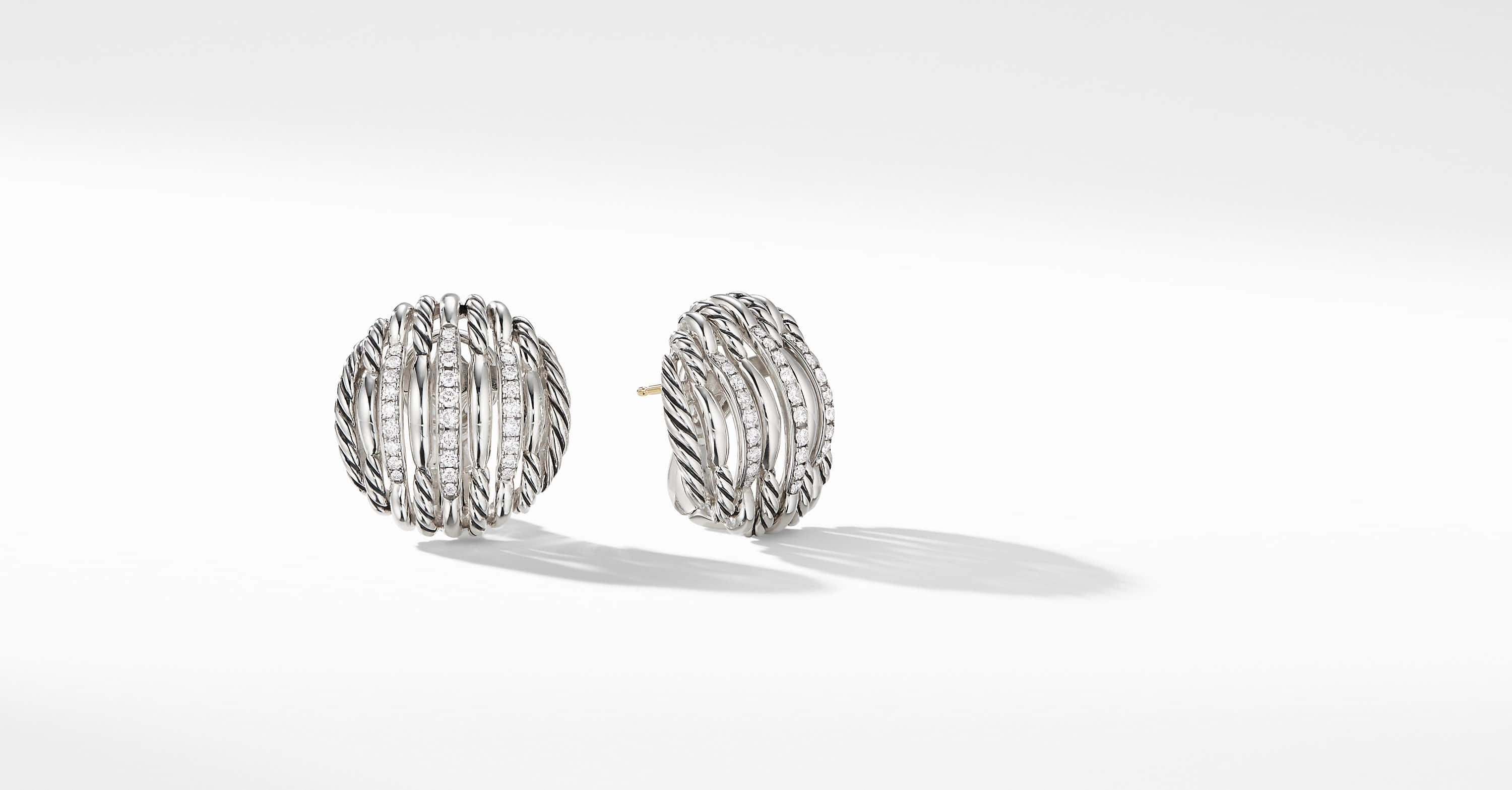 Tides Button Earrings with Diamonds, 23mm