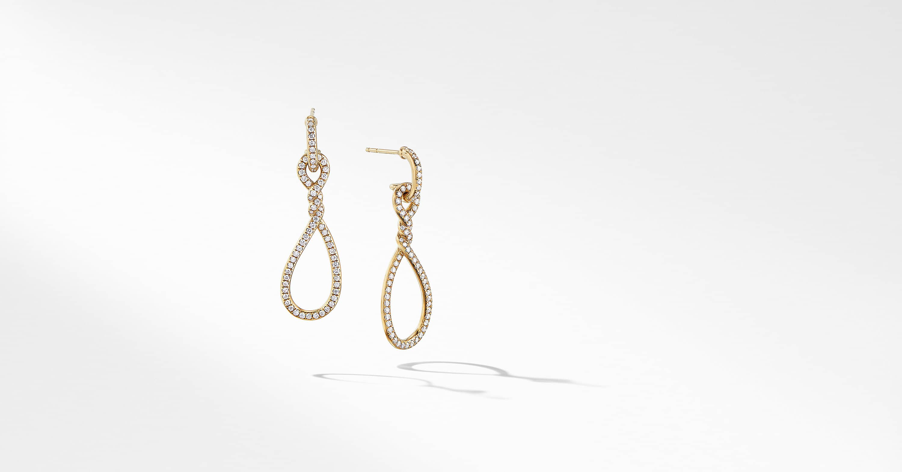 Continuance Full Pavé Small Drop Earrings in 18K Yellow Gold
