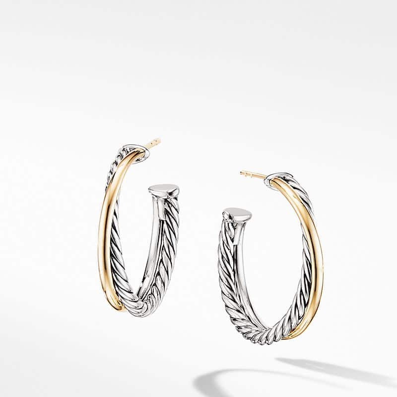 The Crossover Collection Medium Hoop Earrings with 18K Yellow Gold