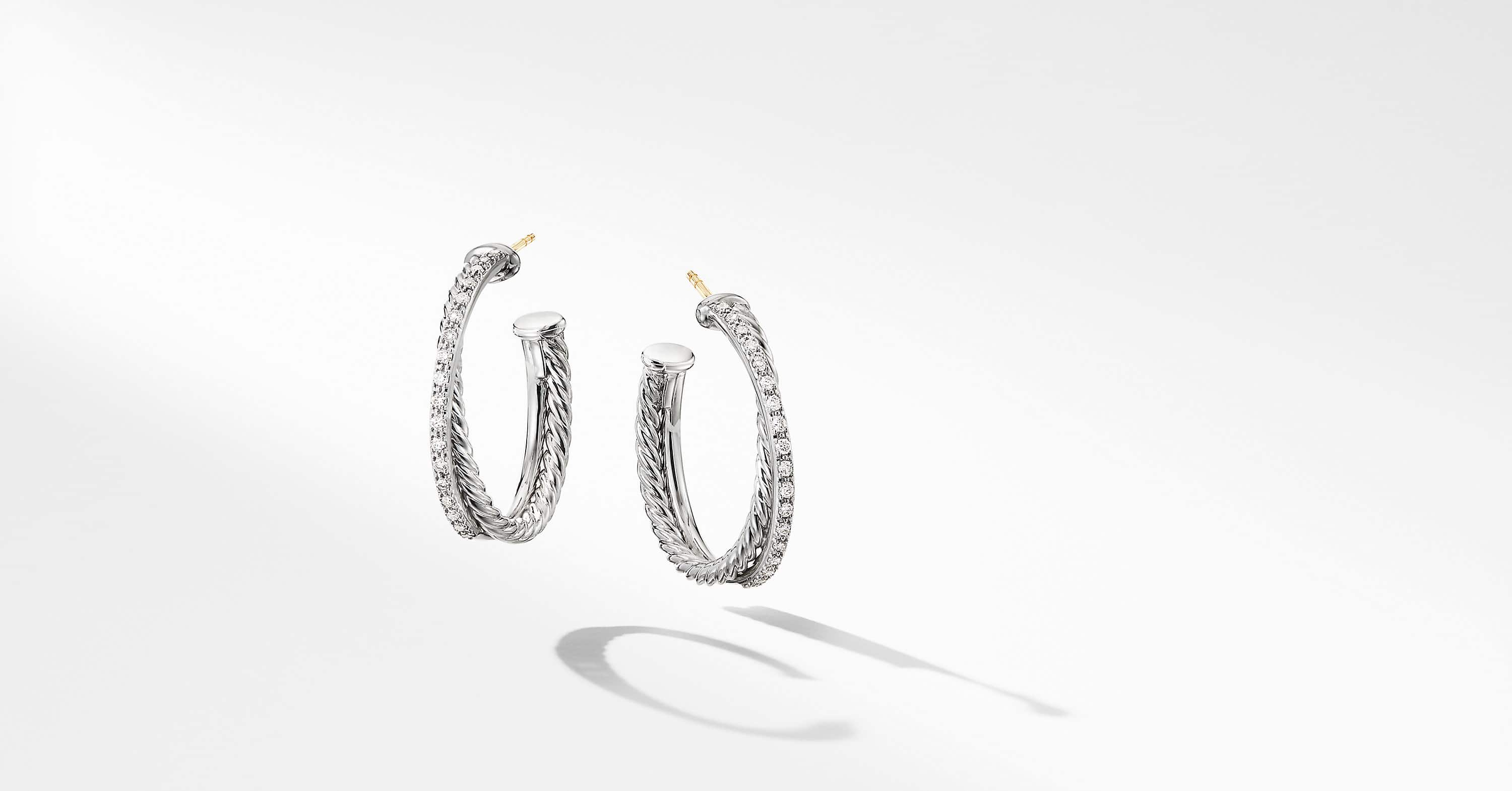 Crossover Medium Hoop Earrings With Diamonds