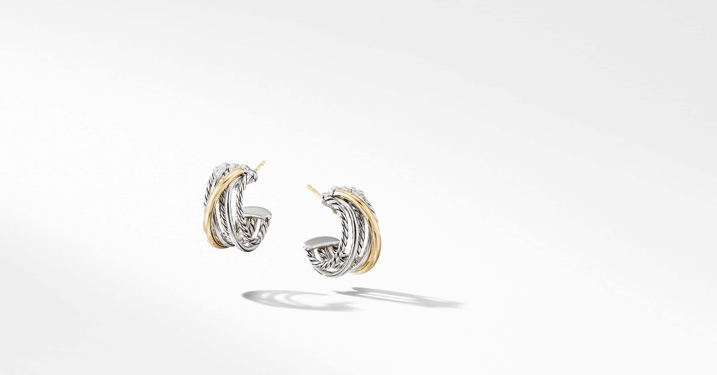 The Crossover Collection Huggie Hoop Earrings with 18K Yellow Gold