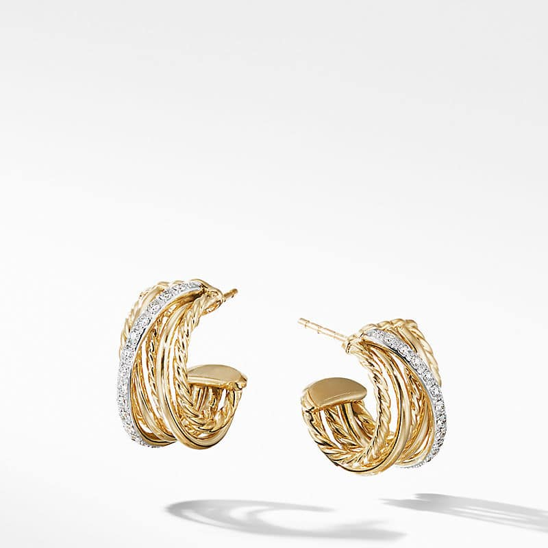 The Crossover Collection Huggie Hoop Earrings in 18K Yellow Gold with Diamonds