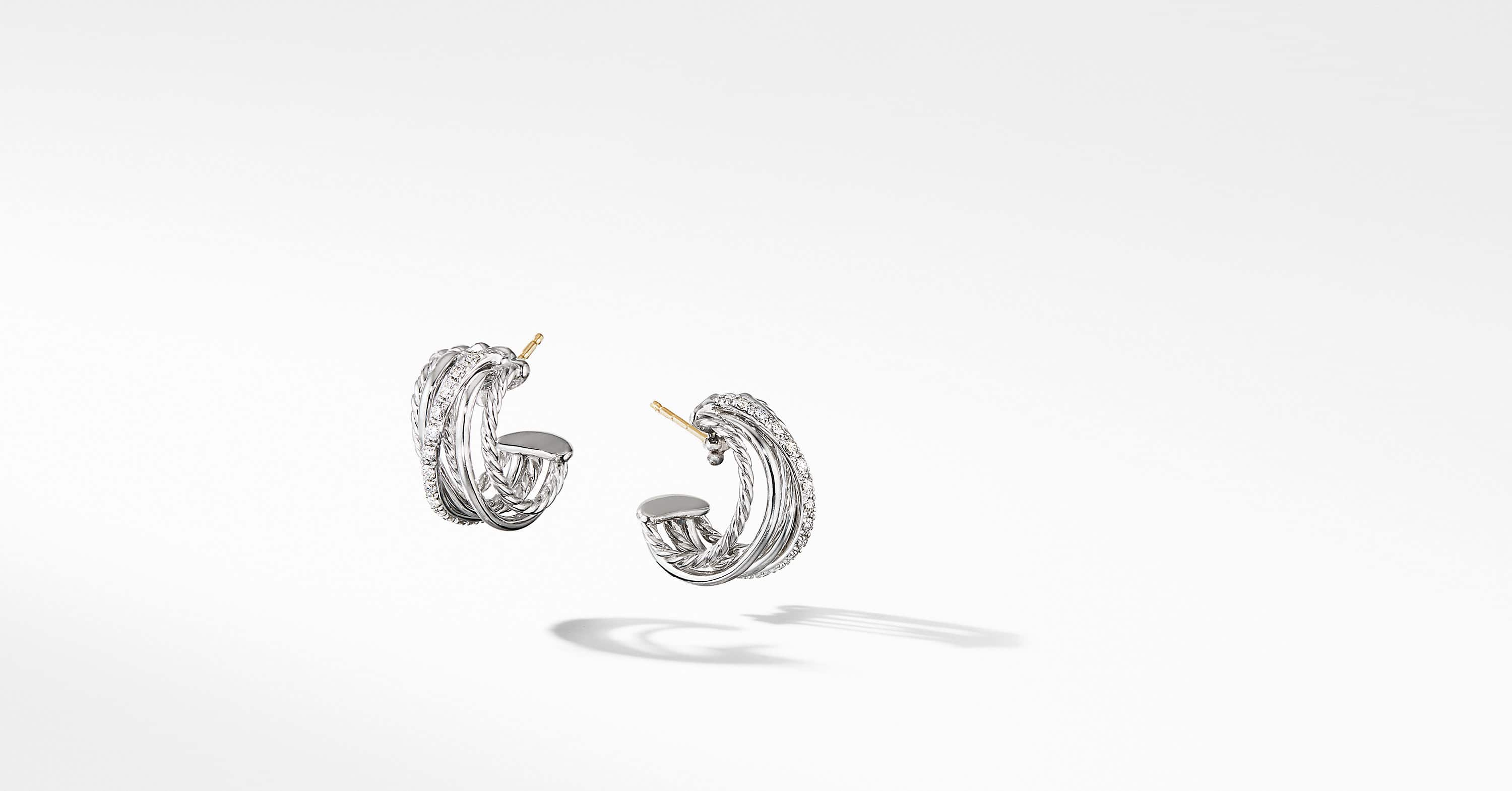 Crossover Huggie Hoop Earrings with Diamonds
