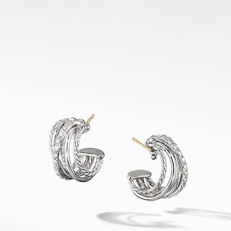 The Crossover Collection Huggie Hoop Earrings with Diamonds
