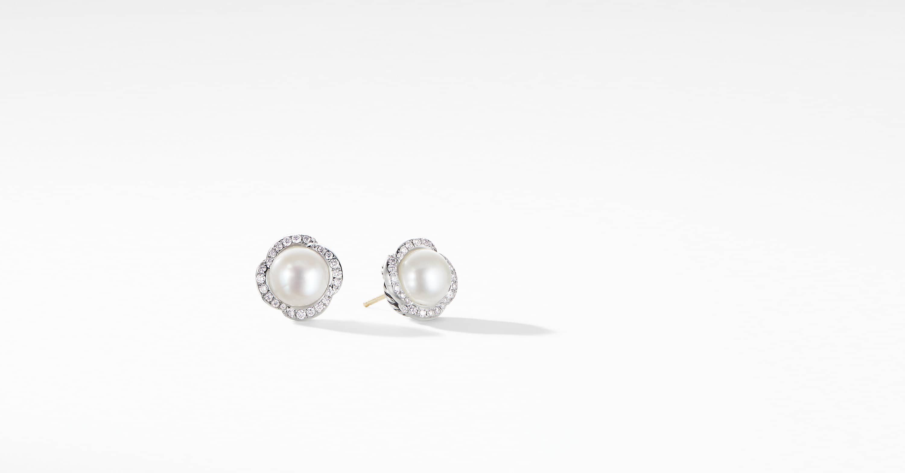 Continuance Pearl Button Earrings with Diamonds