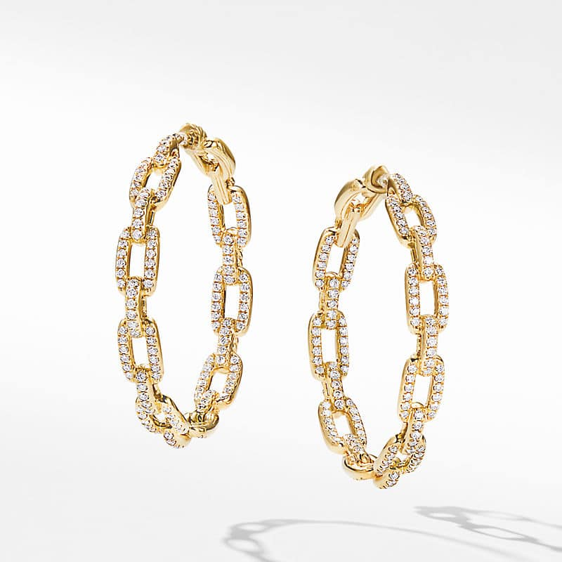 Stax Chain Link Hoop Earrings in 18K Yellow Gold with Diamonds, 37mm