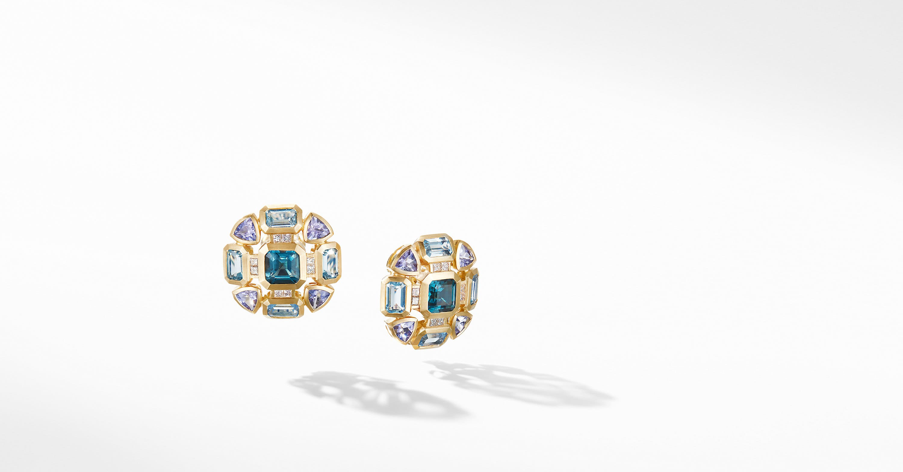 Novella Button Mosaic Earrings in 18K Yellow Gold with Diamonds