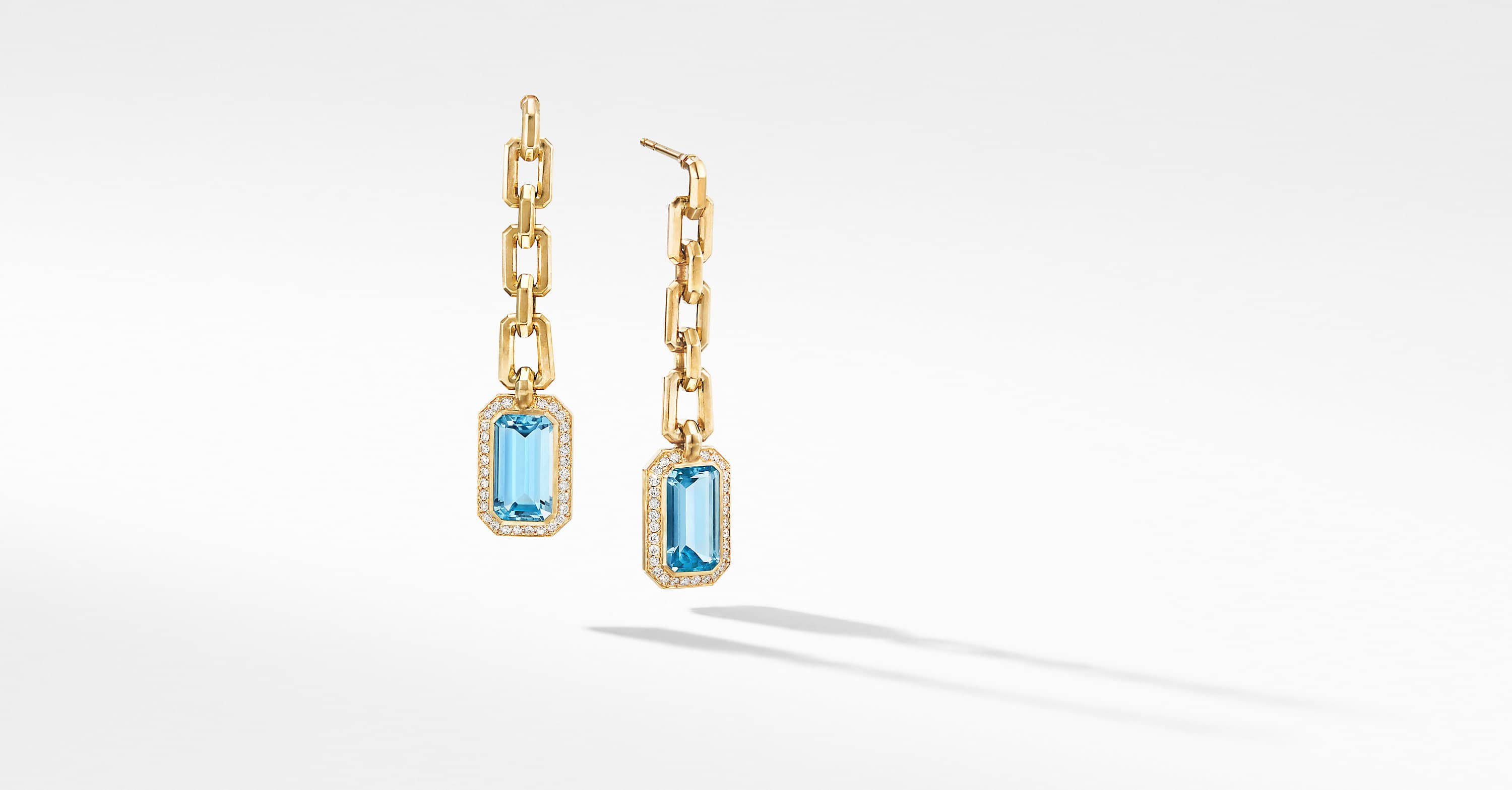 Novella Chain Drop Earrings in 18K Yellow Gold with Diamonds