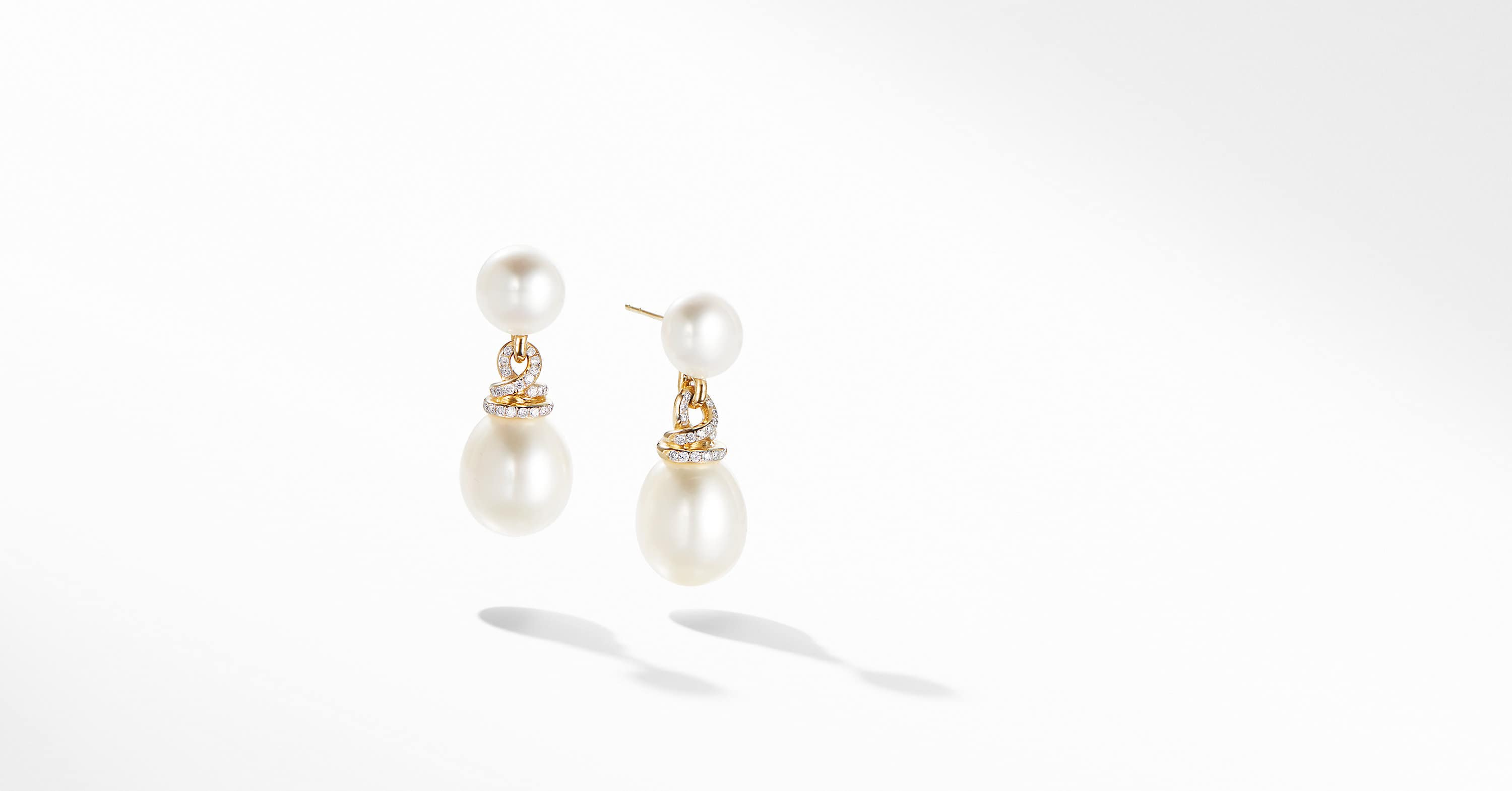 Helena Pearl Drop Earrings in 18K Yellow Gold with Diamonds